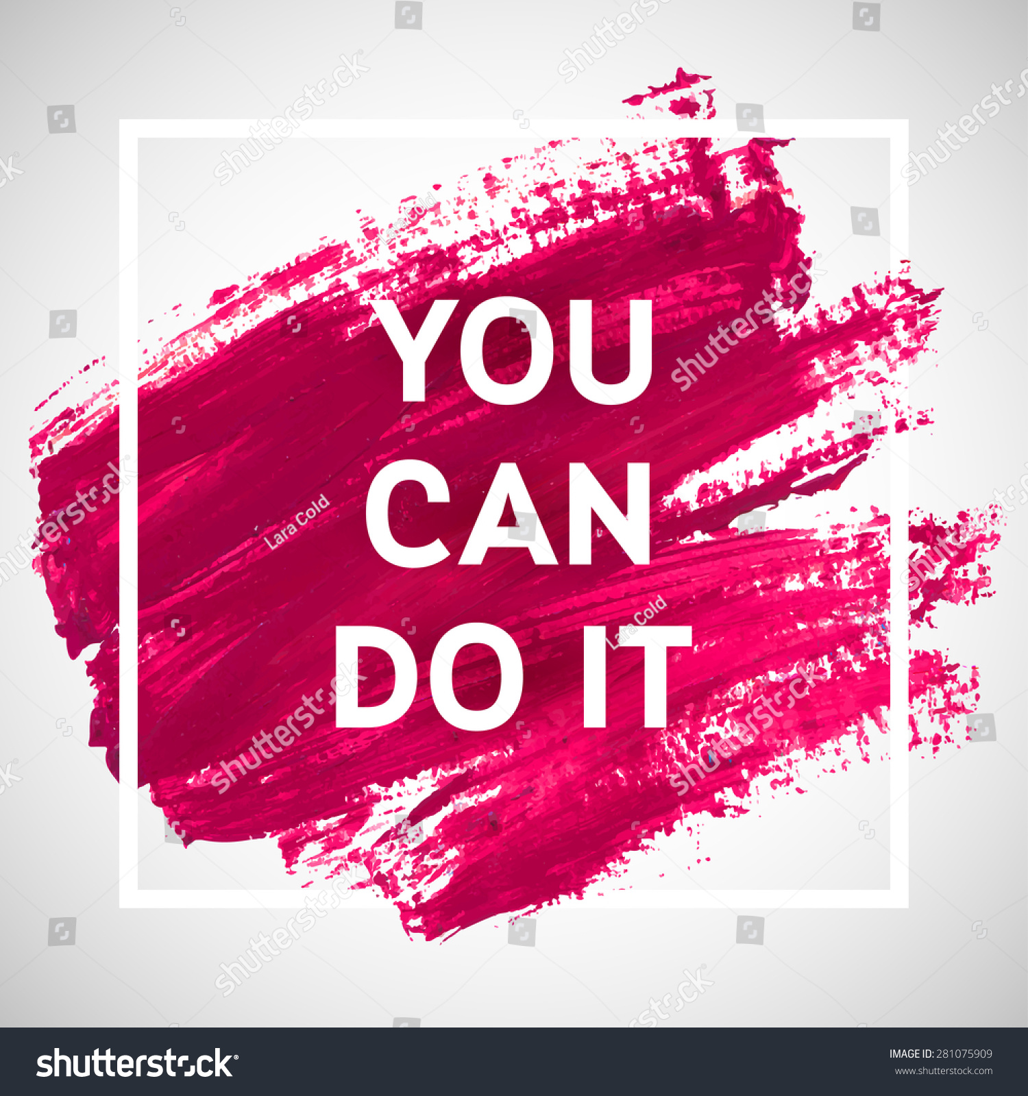 you can do motivation square acrylic stock vector