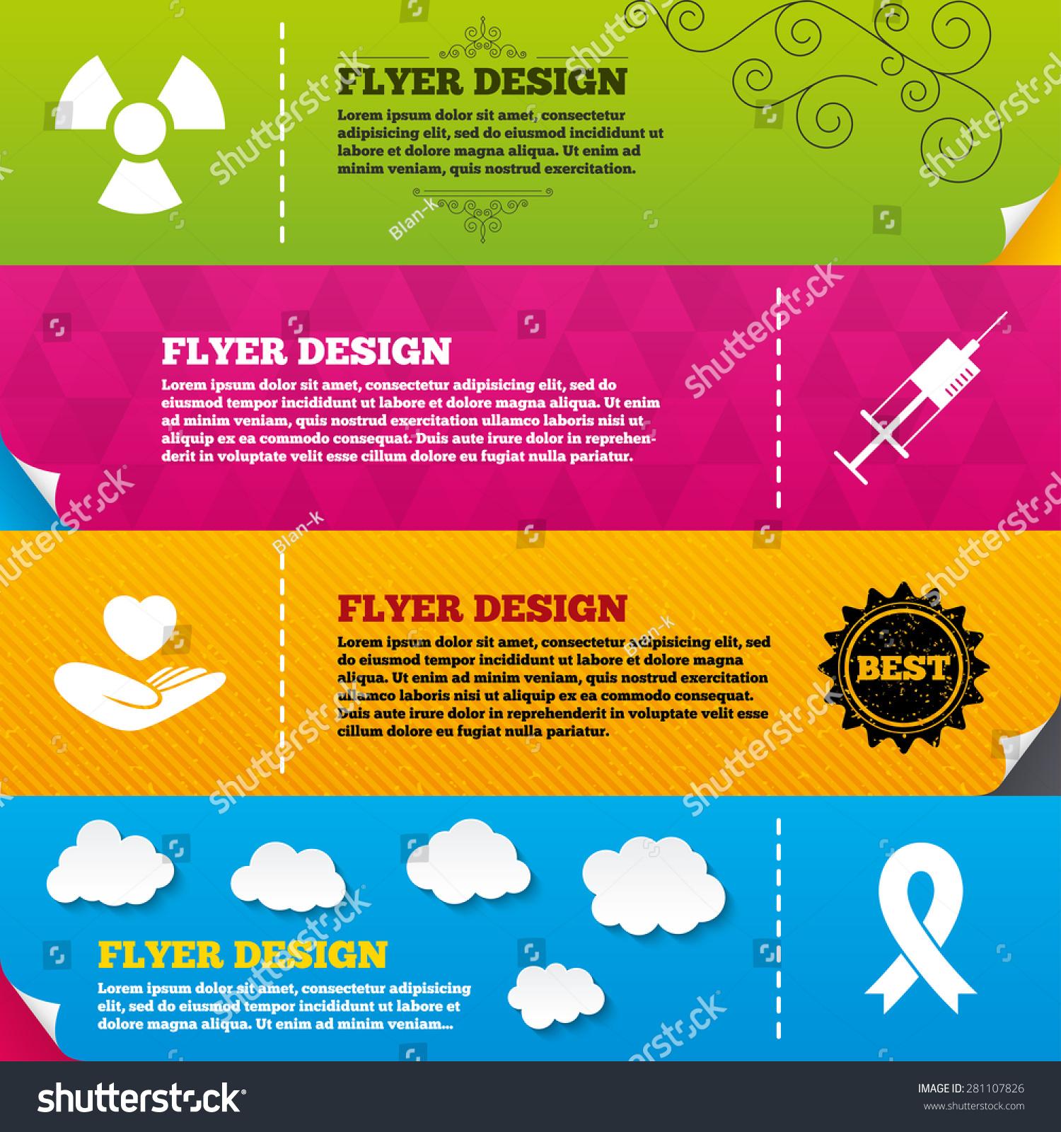 Flyer Brochure Designs Medicine Icons Syringe Vectores En Stock ...
