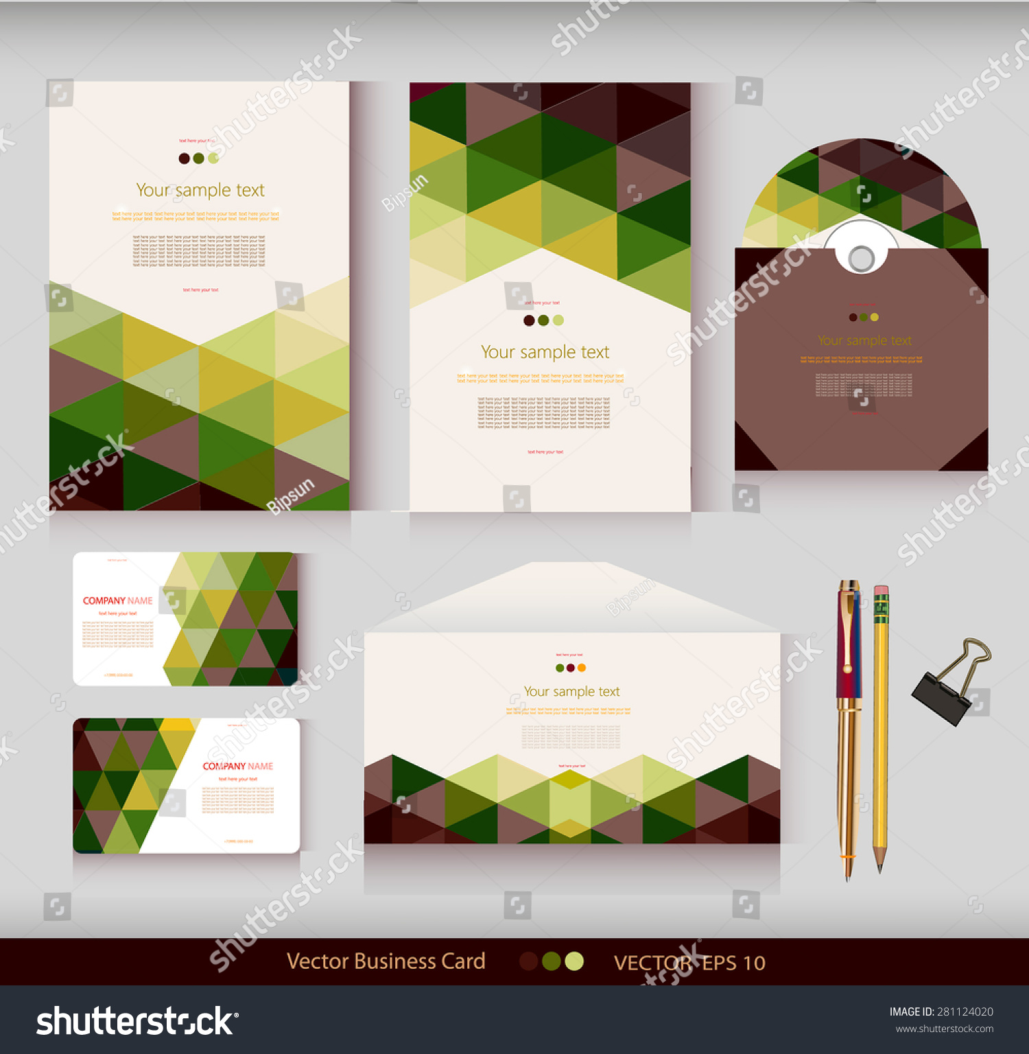 corporate identity vector templates geometric pattern stock vector