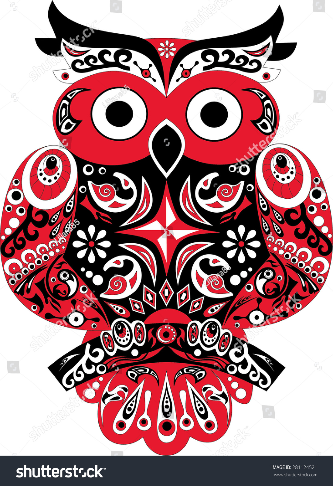 Owl Bird Eagle Owl Animal Black Stock Illustration 281124521 ...