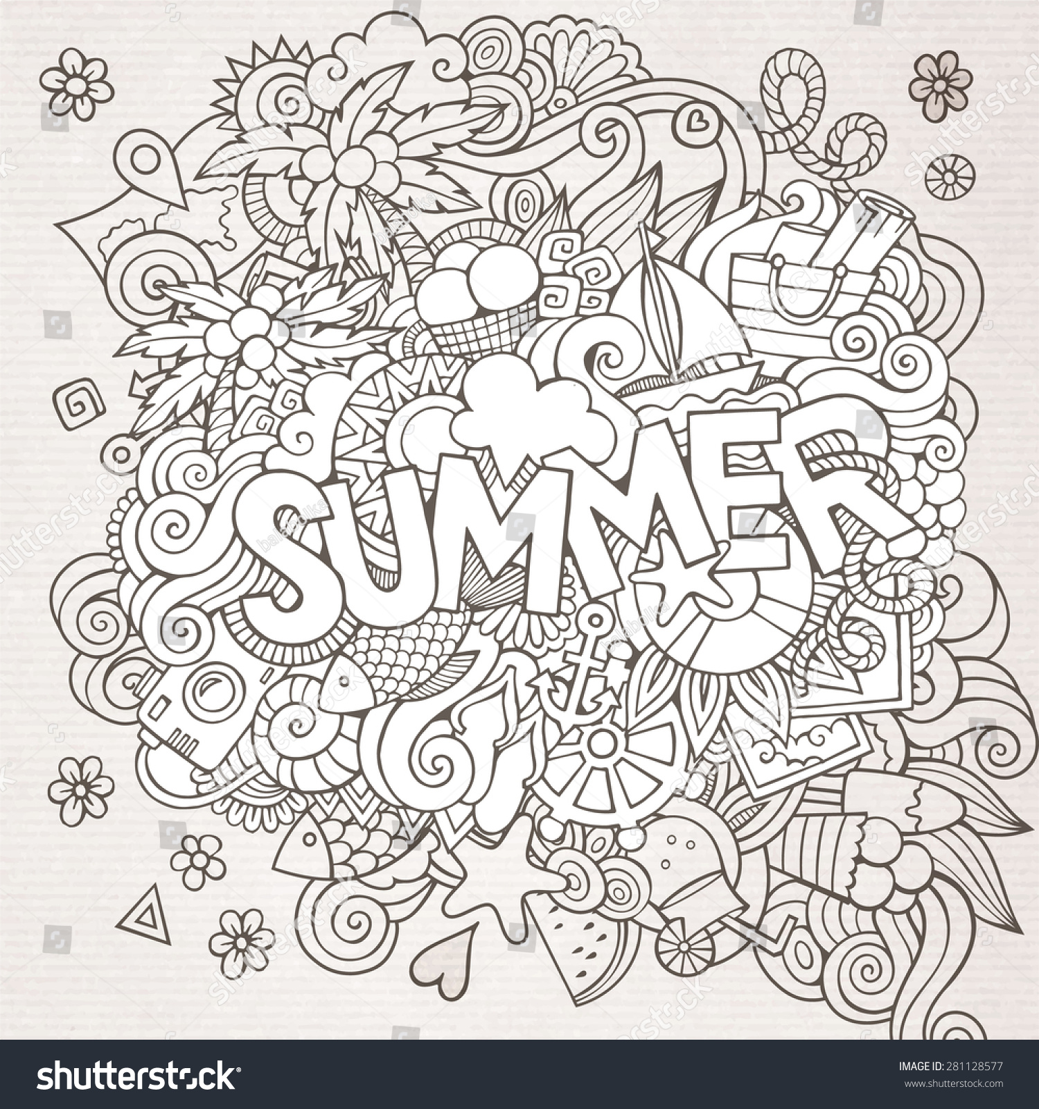 Stock vector music hand lettering and doodles elements - Summer Hand Lettering And Doodles Elements Vector Sketchy Illustration