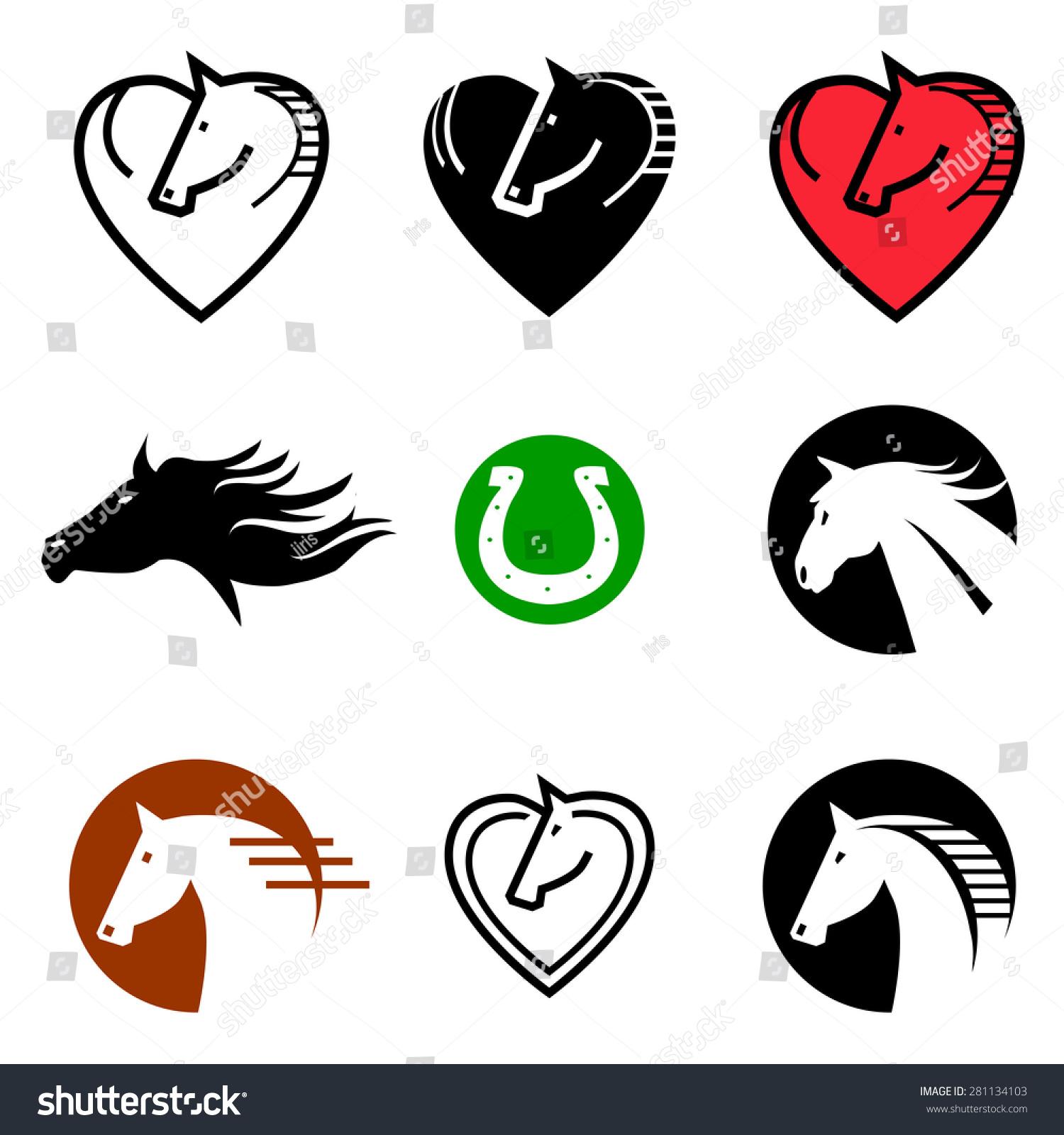 Horse icons symbols set horse icons symbols stock vector 281134103 horse icons symbols set of horse icons and symbols vector illustration buycottarizona