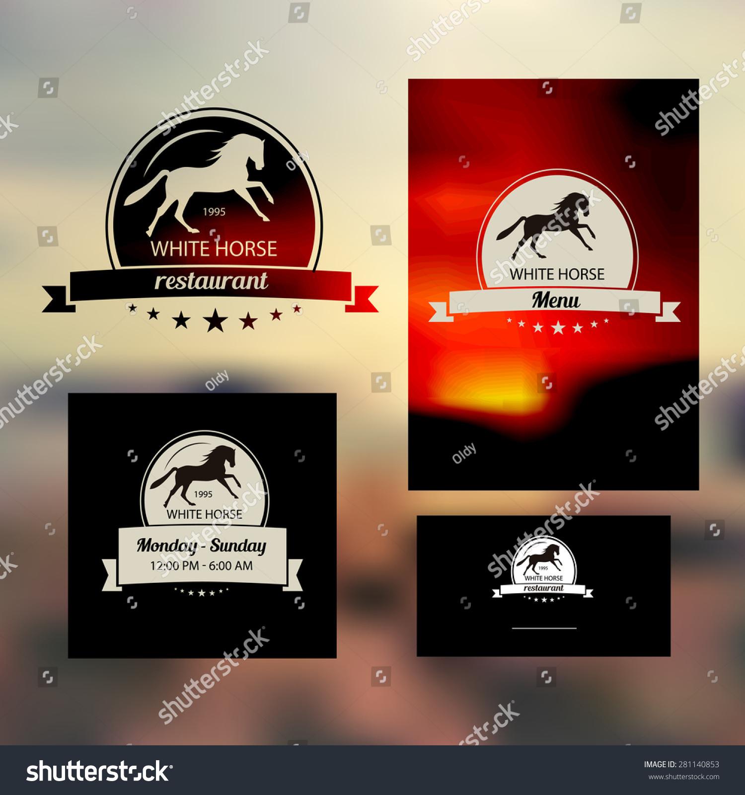 vector set branding restaurant white horse stock vector