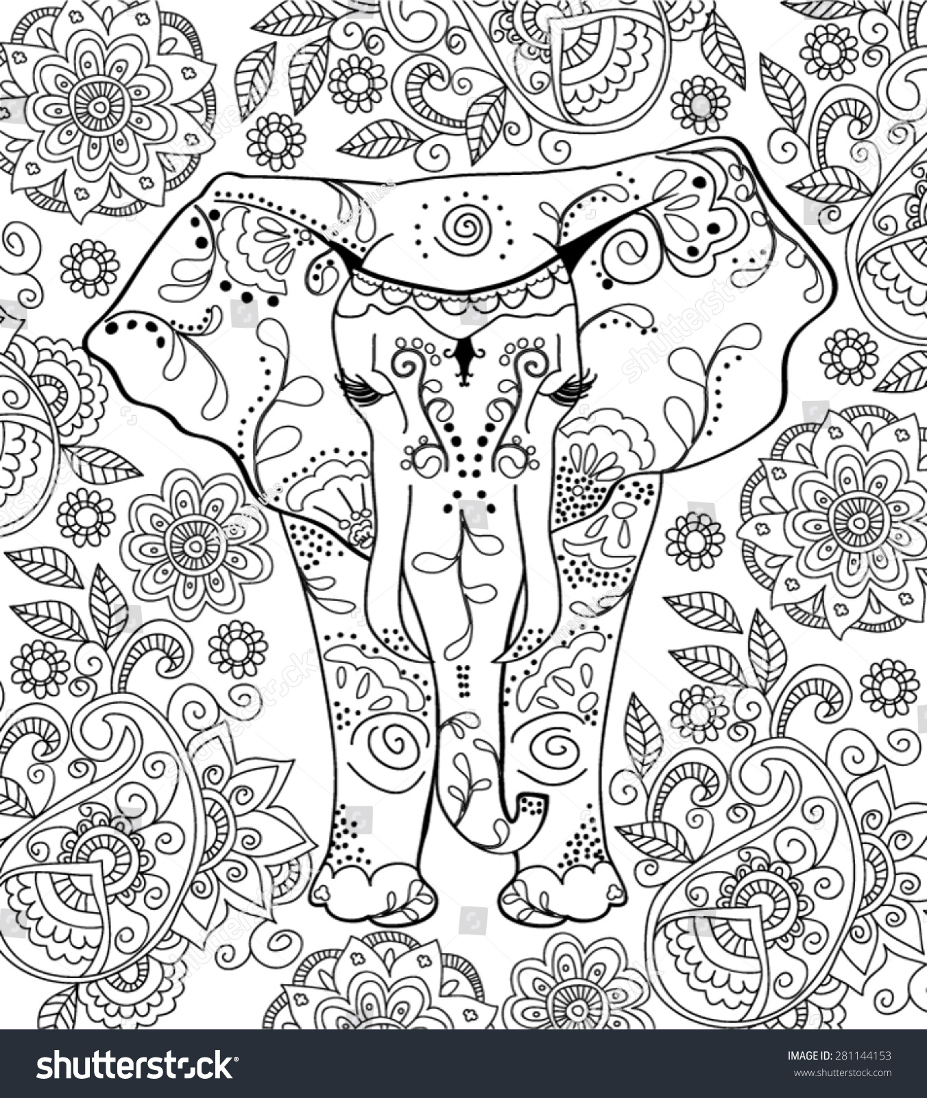 Hand Drawn Elephant Coloring Page Stock Vector 281144153 - Shutterstock