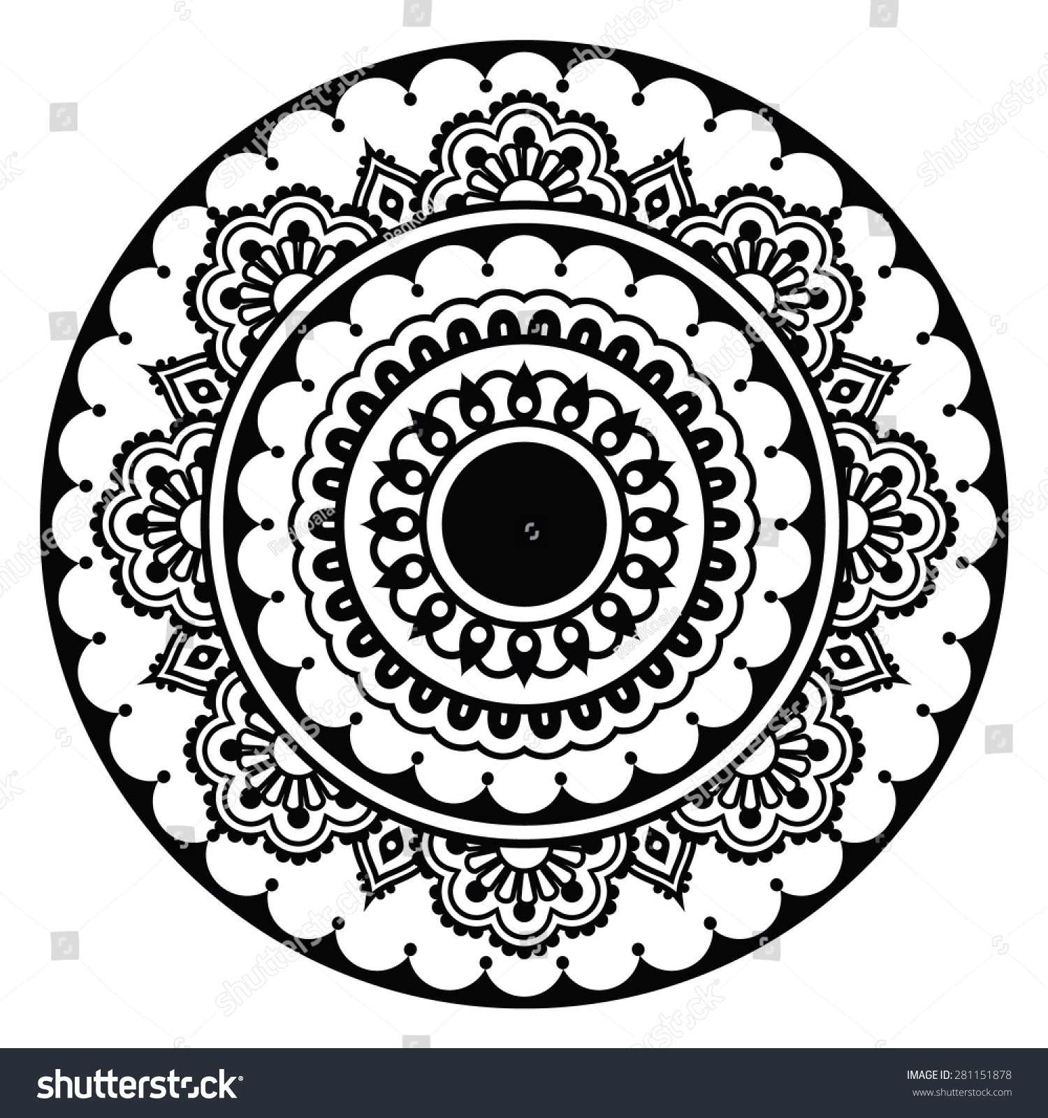 Mehndi Indian Henna Floral Tattoo Round Stock Vector 281151878
