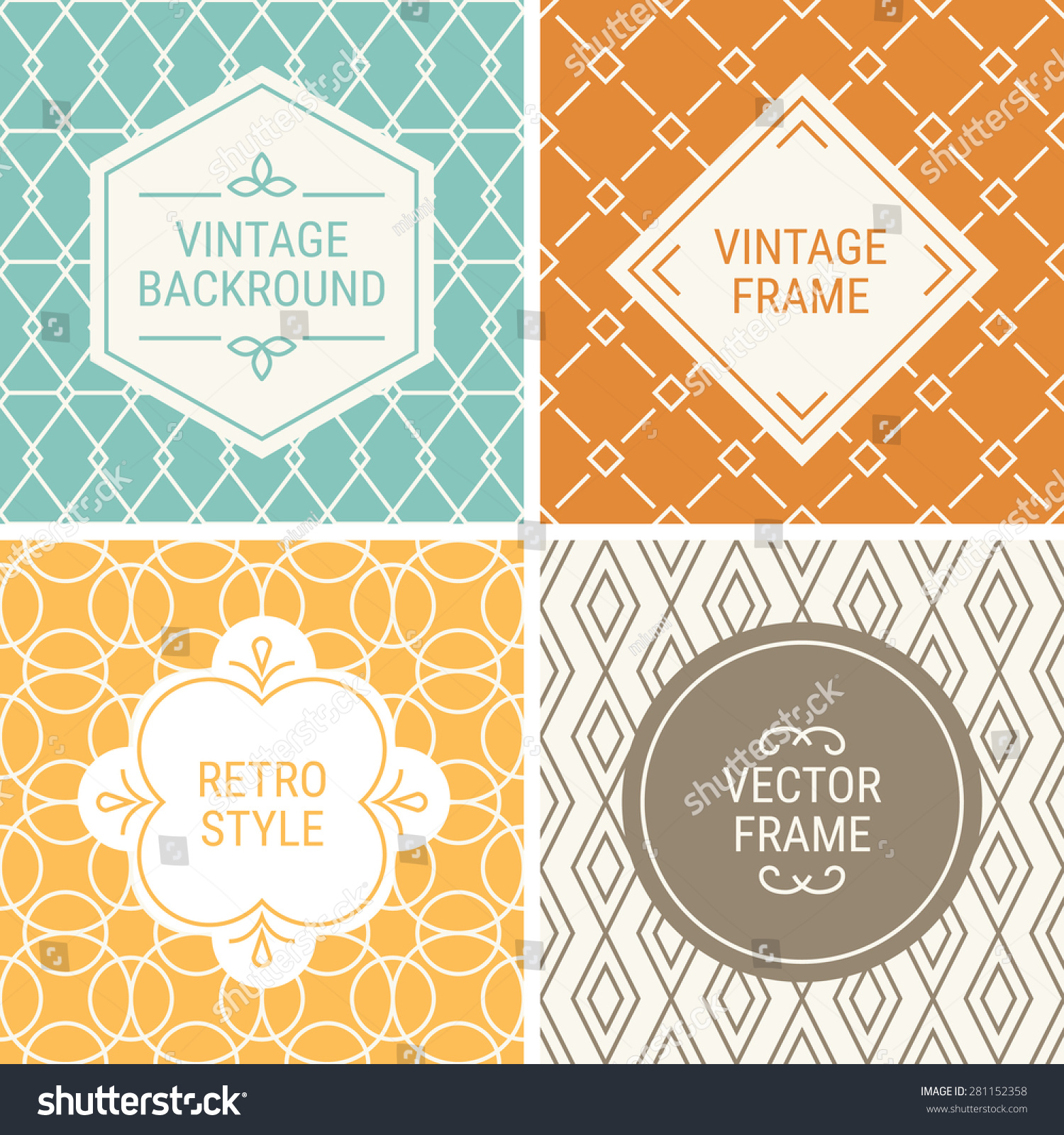 Set of vintage frames in Blue Orange Yellow Brown and Beige on mono line seamless background Perfect for greeting cards wedding invitations retro parties Vector labels and badges