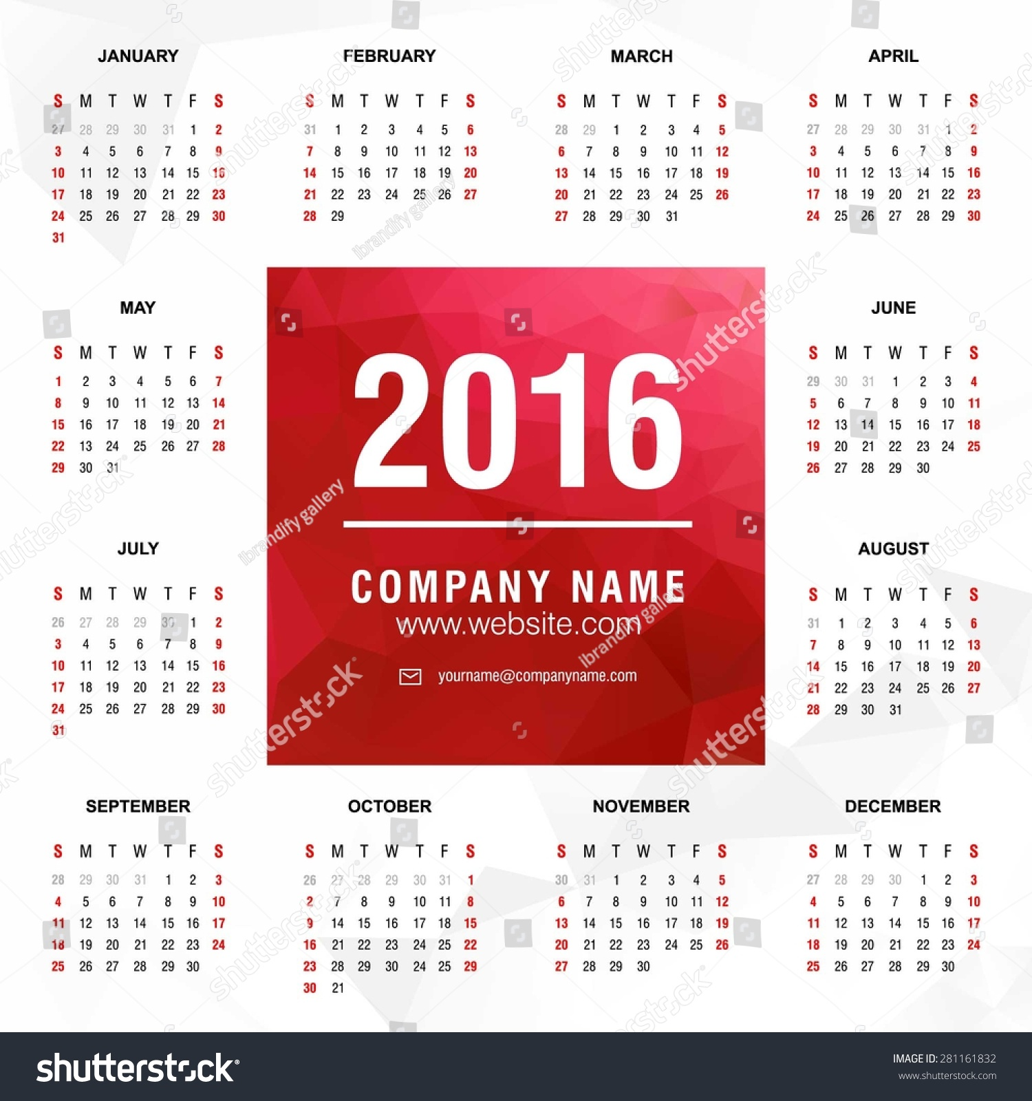 Calendar Year Names : Calendar vector design template polygonal stock