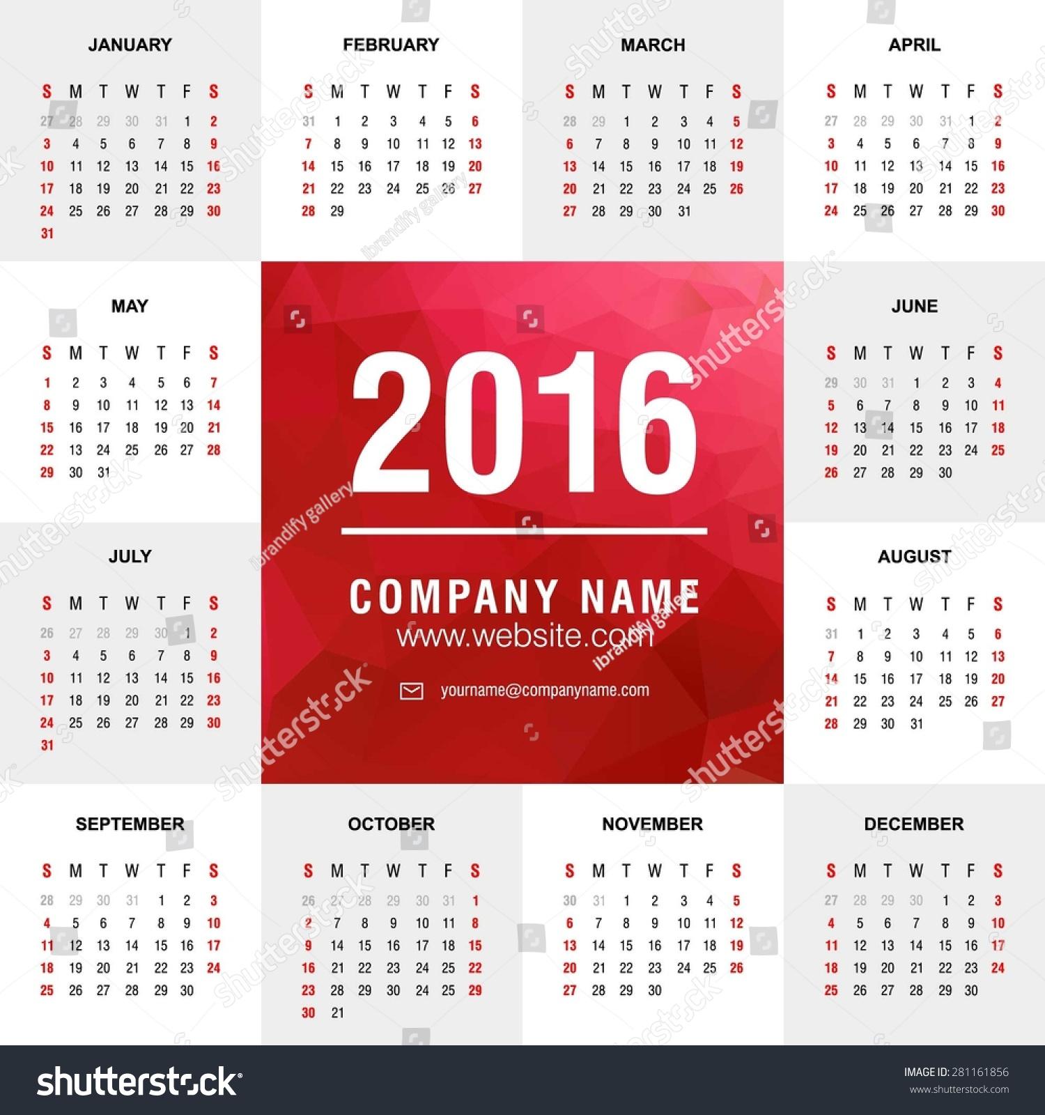 Calendar Typography Template : Calendar vector design template polygonal stock
