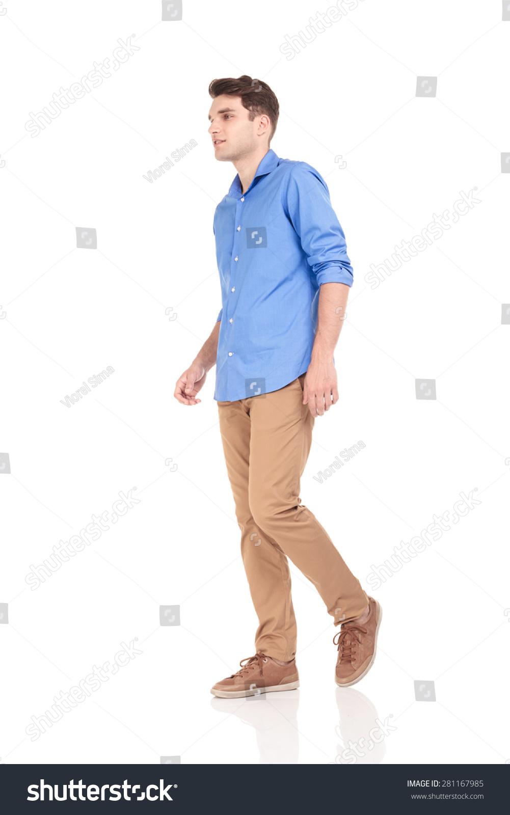 Side View Young Fashion Man Walking Stock Photo 281167985 Shutterstock