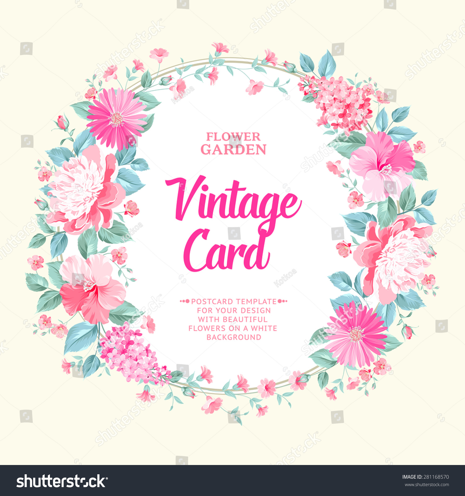 Vintage Frame Bouquet Spring Flowers Vector Stock Vector Royalty