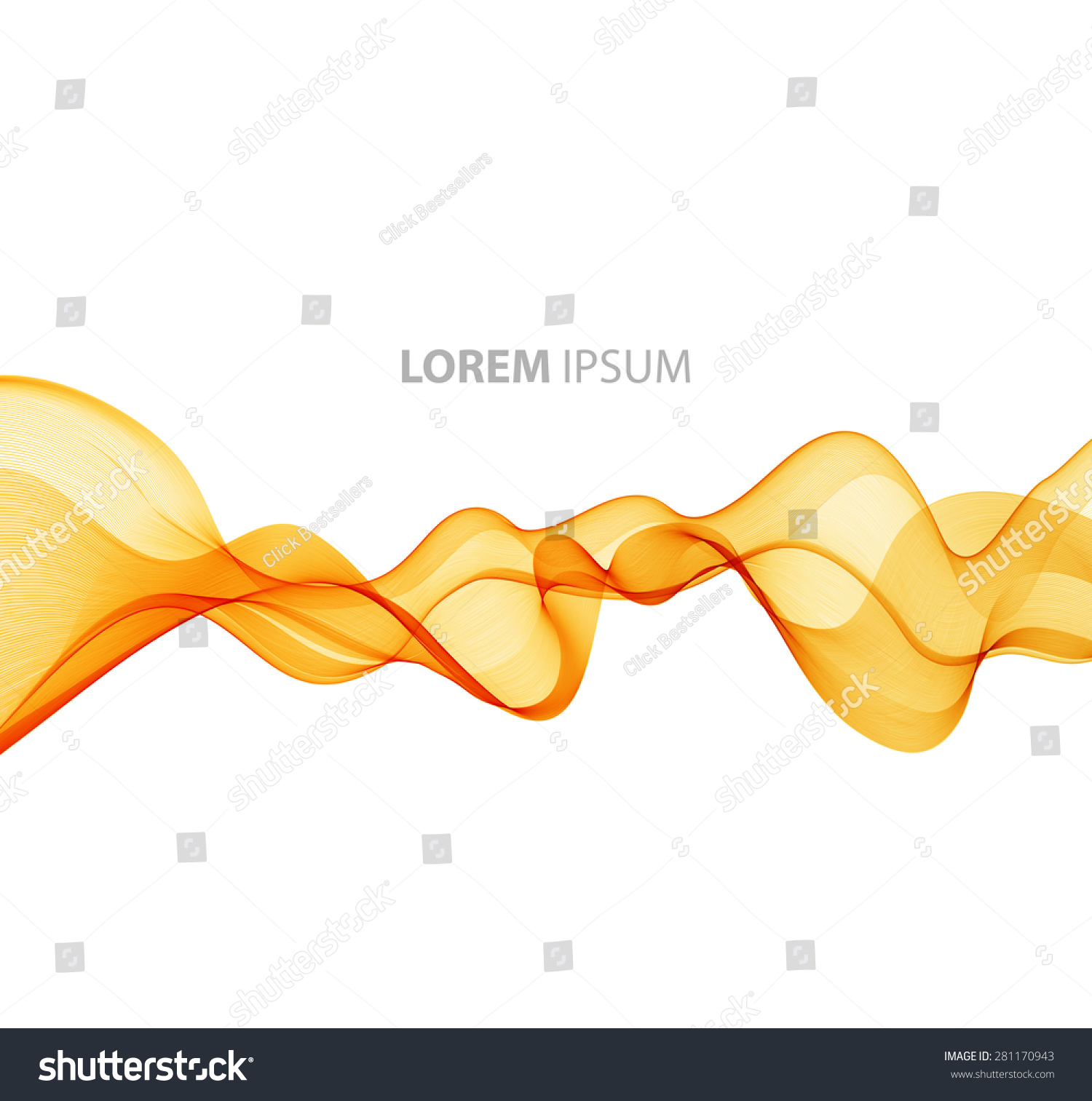 vector abstract orange curved lines background stock vector (royalty