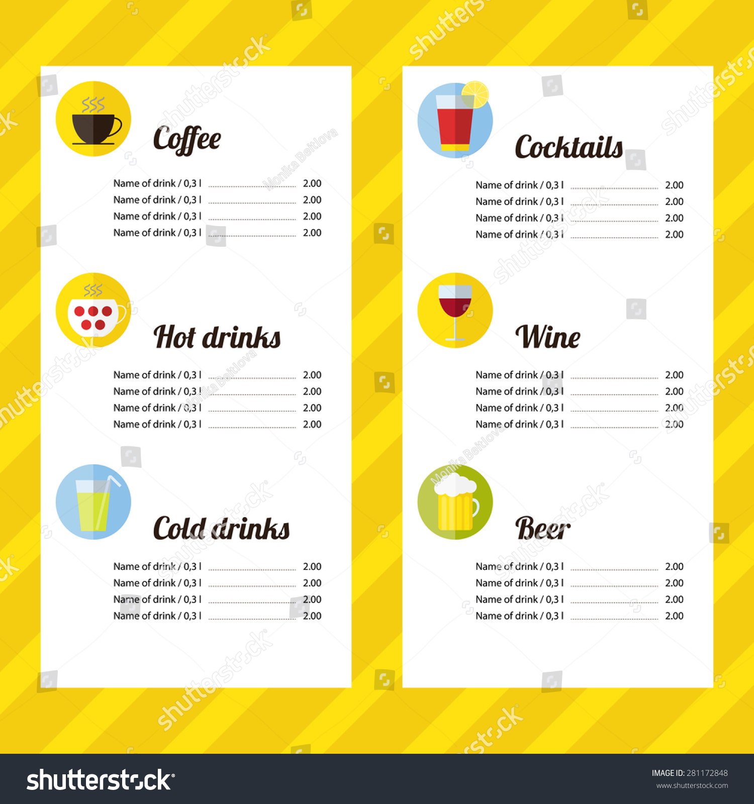 drink menu template icons flat design stock vector royalty free