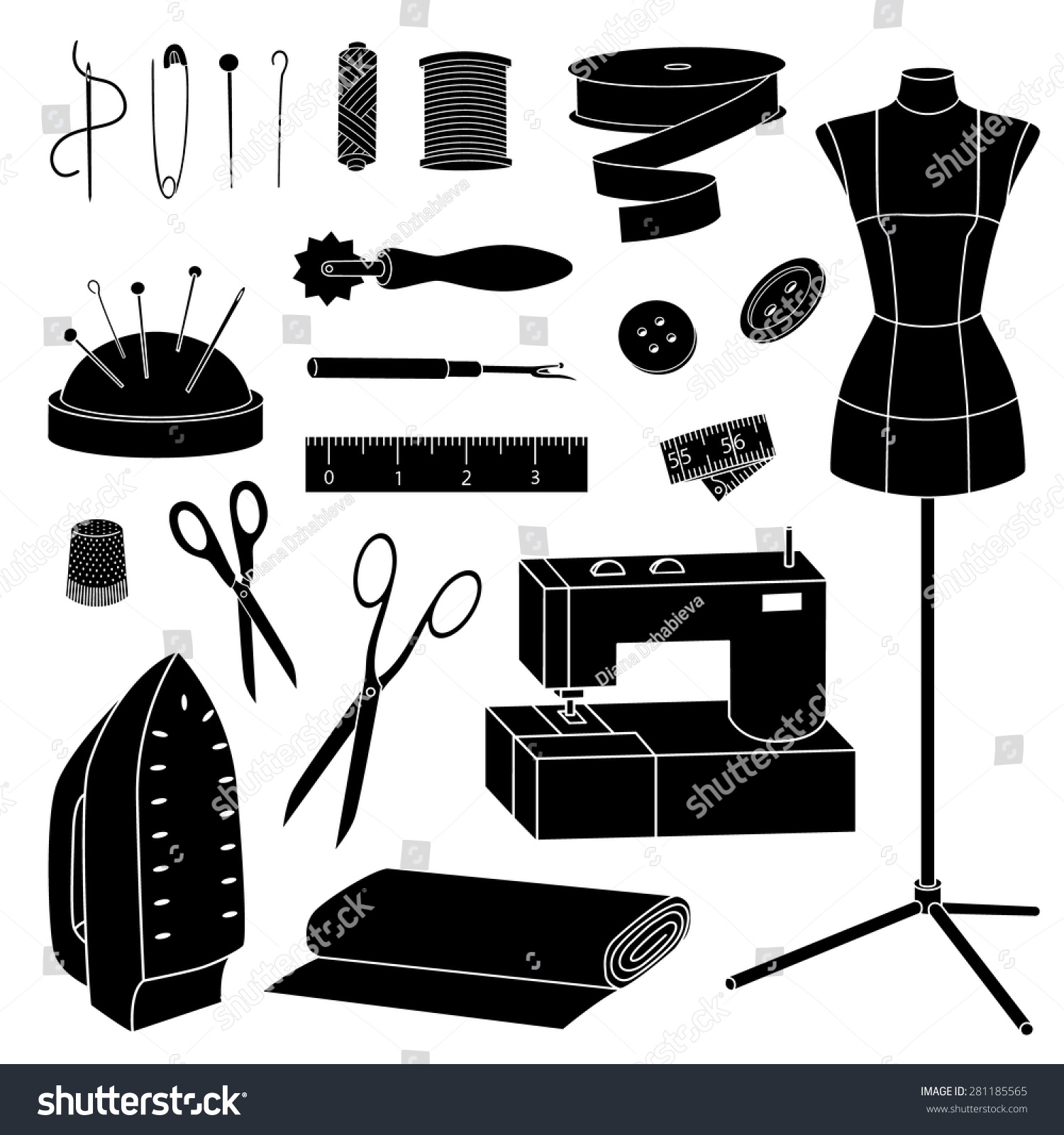 Royalty-free Isolated vector sewing tools… #281185565 Stock Photo ...