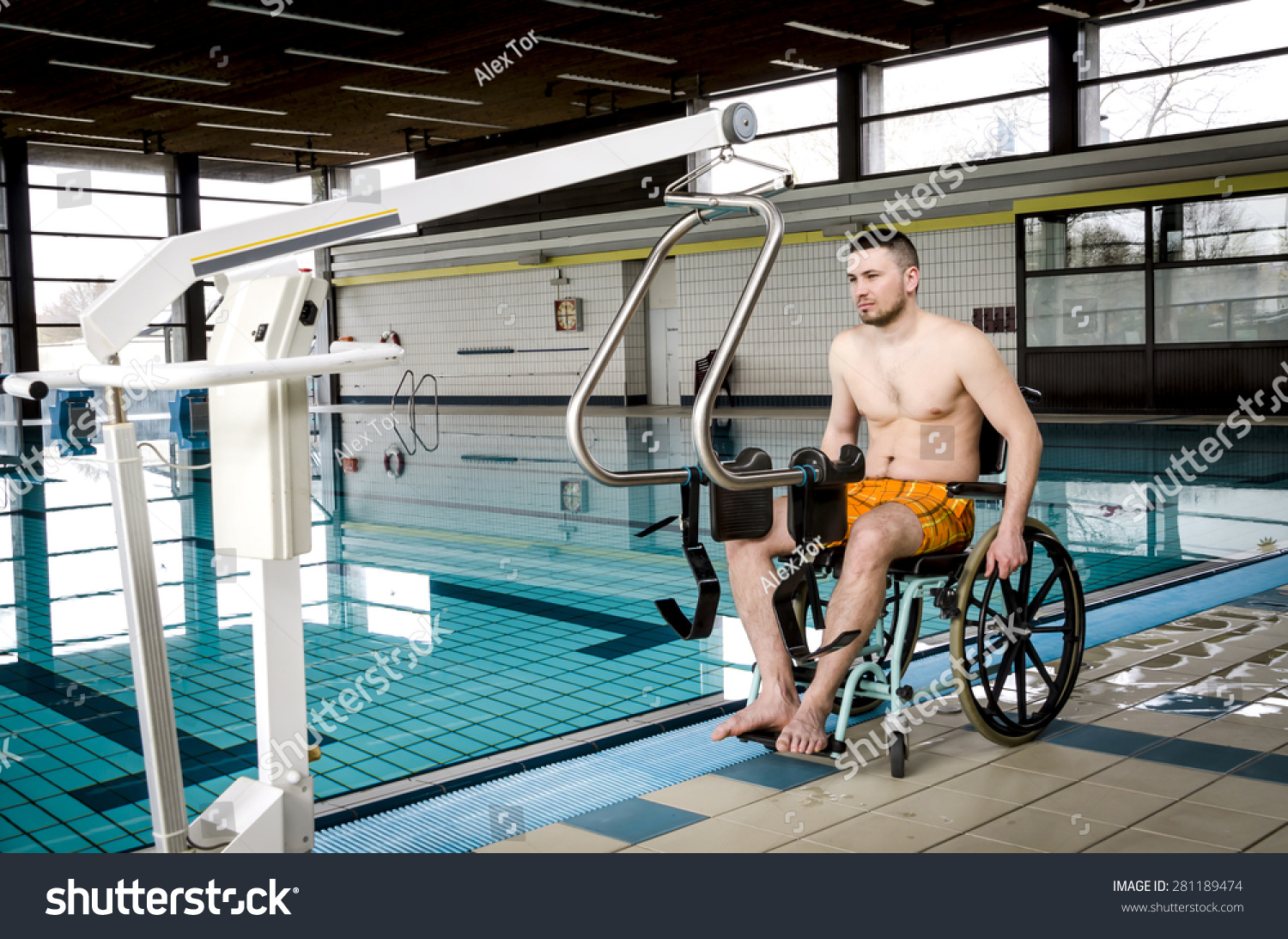 Disabled Man Swimming Pool Wheelchair Stock Photo (Edit Now ...