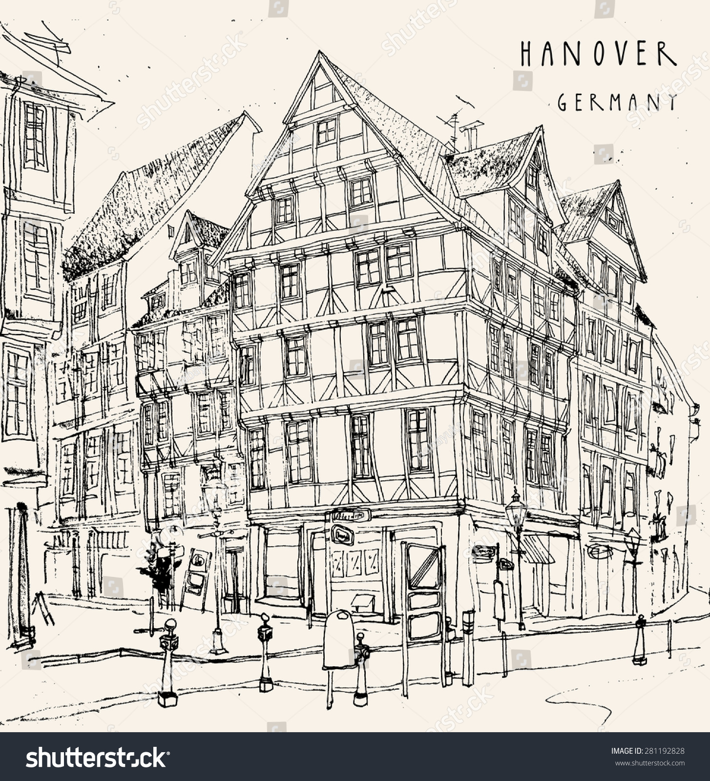 Line Art Building : View old center hanover germany historical stock