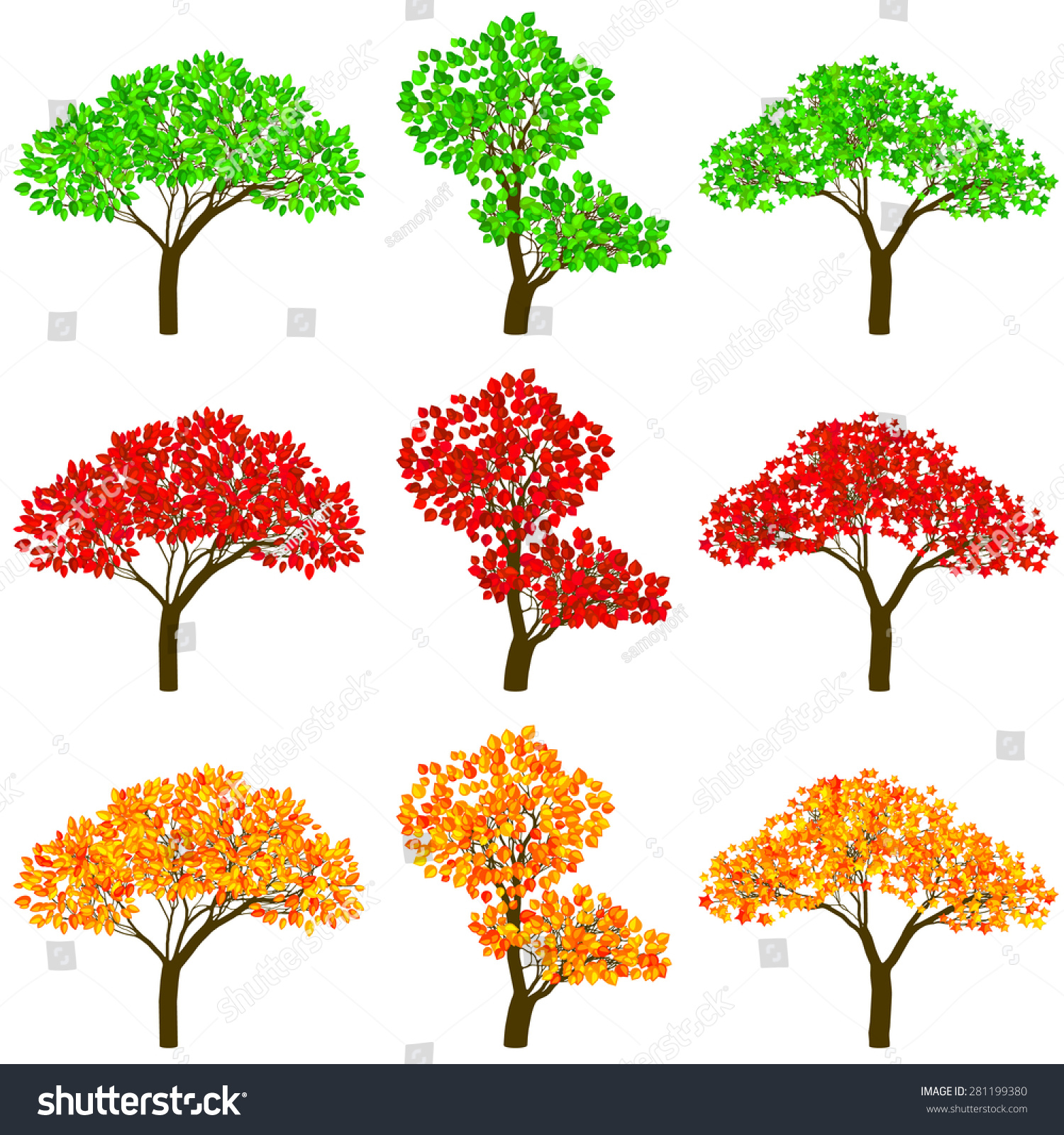 Set Of Three Trees In Color Schemes Vector Illustration
