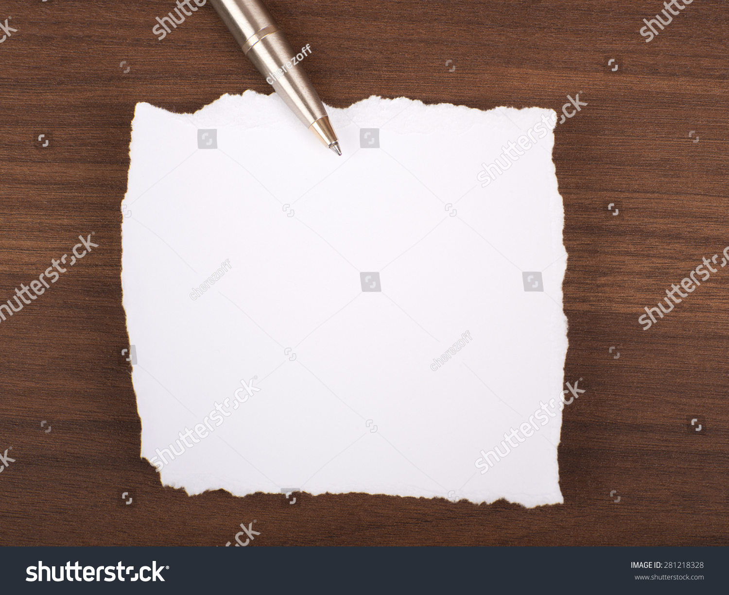 blank piece paper pen on brown stock photo royalty free 281218328