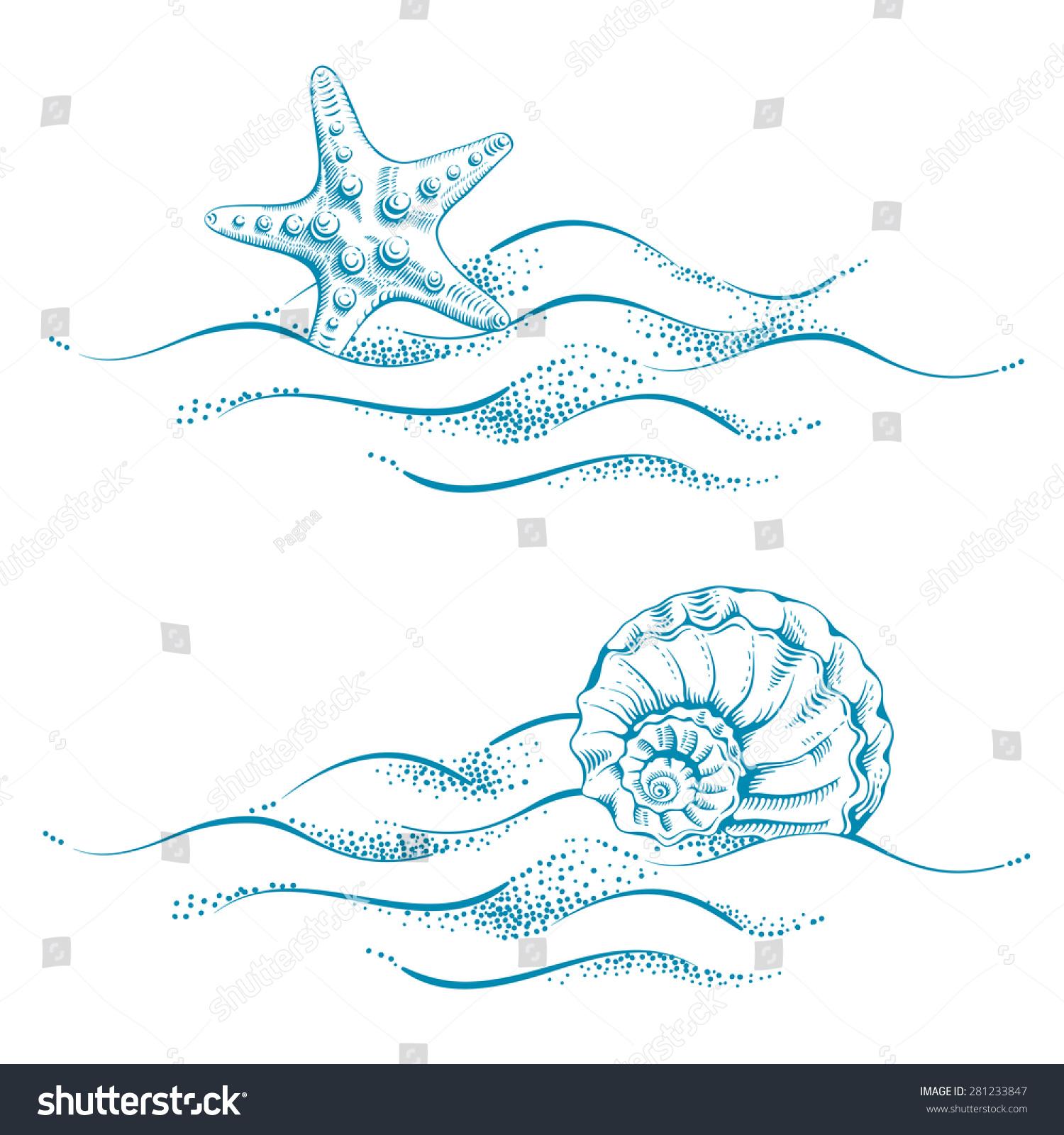 summer sea background sand seashell sea stock vector  summer sea background sand seashell and sea star vector drawn in technique