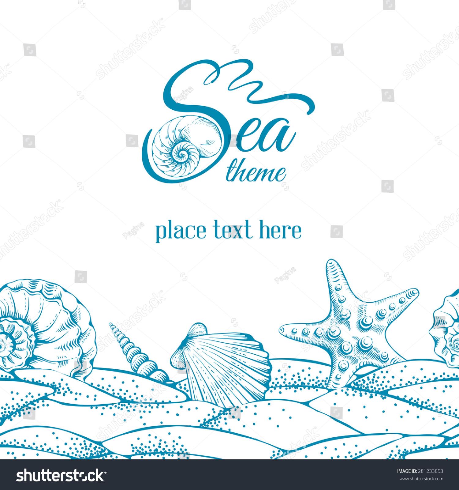 summer sea background sand seashells sea stock vector  summer sea background sand seashells and sea star vector drawn in technique