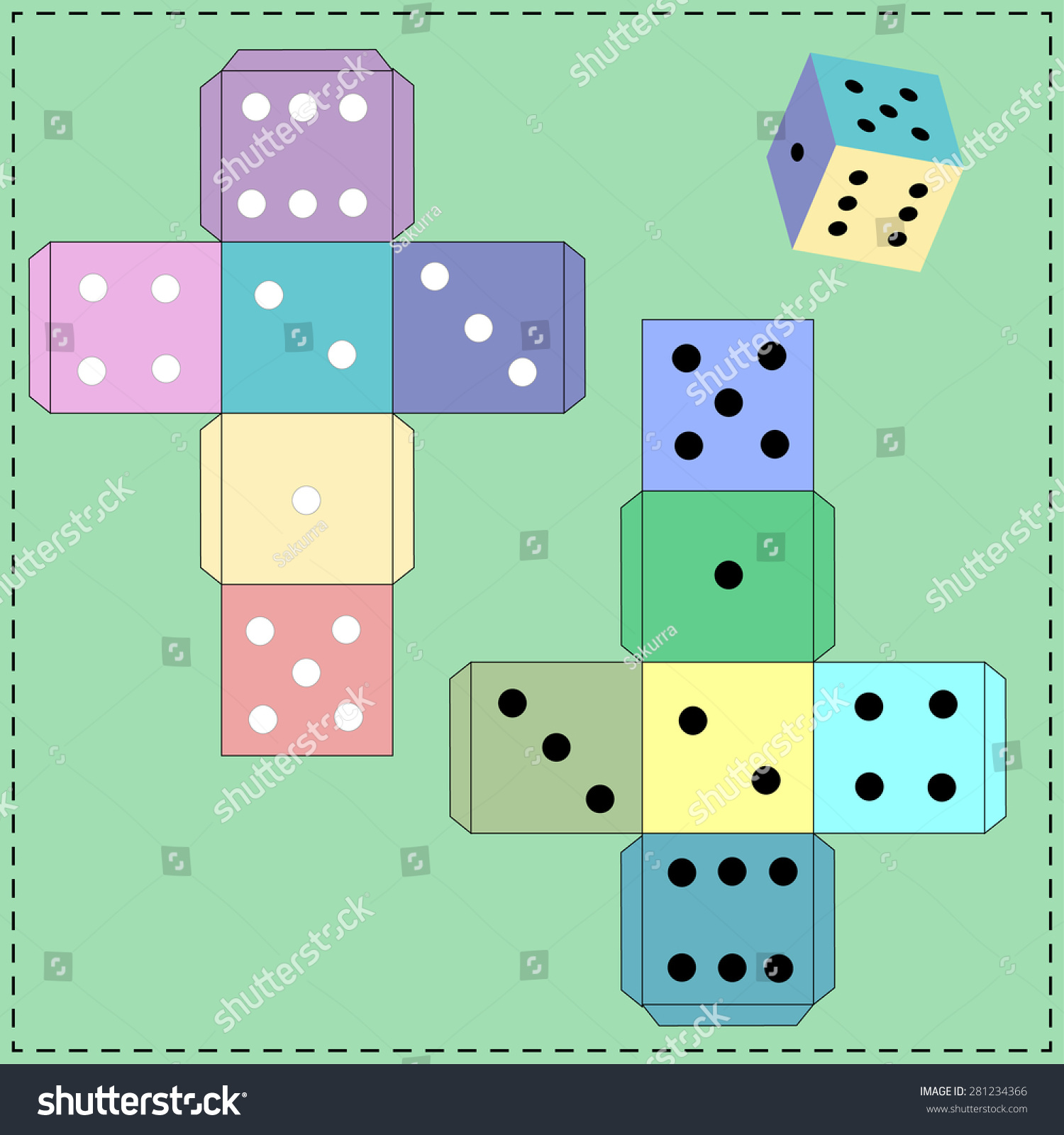 Dice games paper dice template vector stock vector 281234366 dice for games paper dice template vector maxwellsz