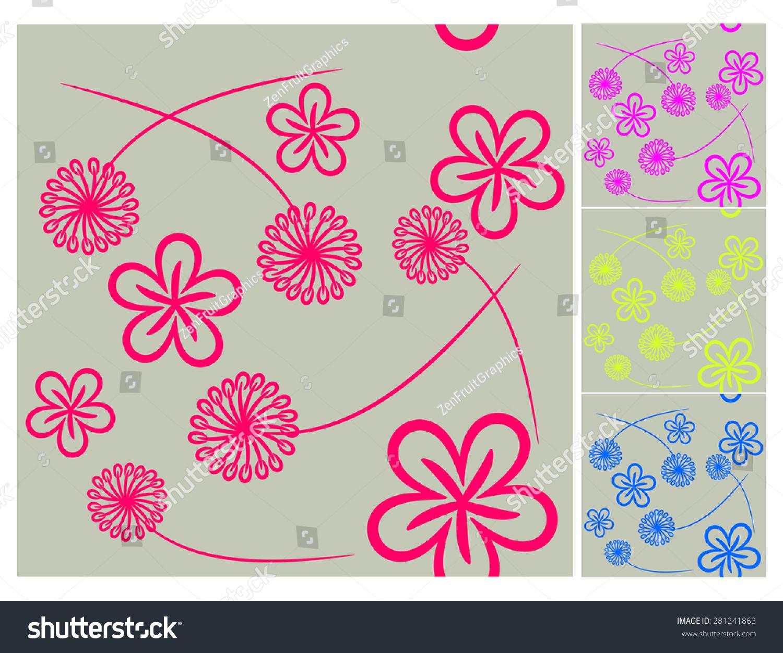 Floral Wallpaper Pattern Vector Illustration Floral Stock Vector