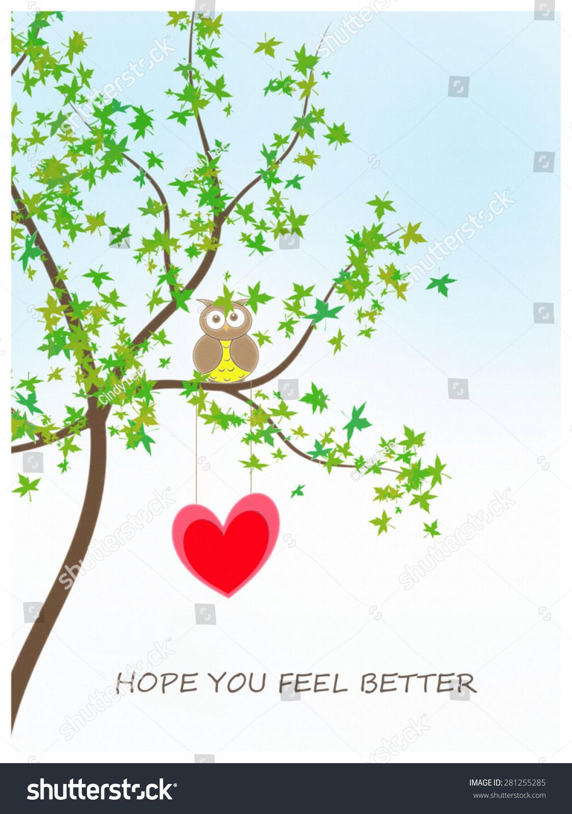 Owl Heart Hope You Feel Better Stockillustratie 281255285 Shutterstock
