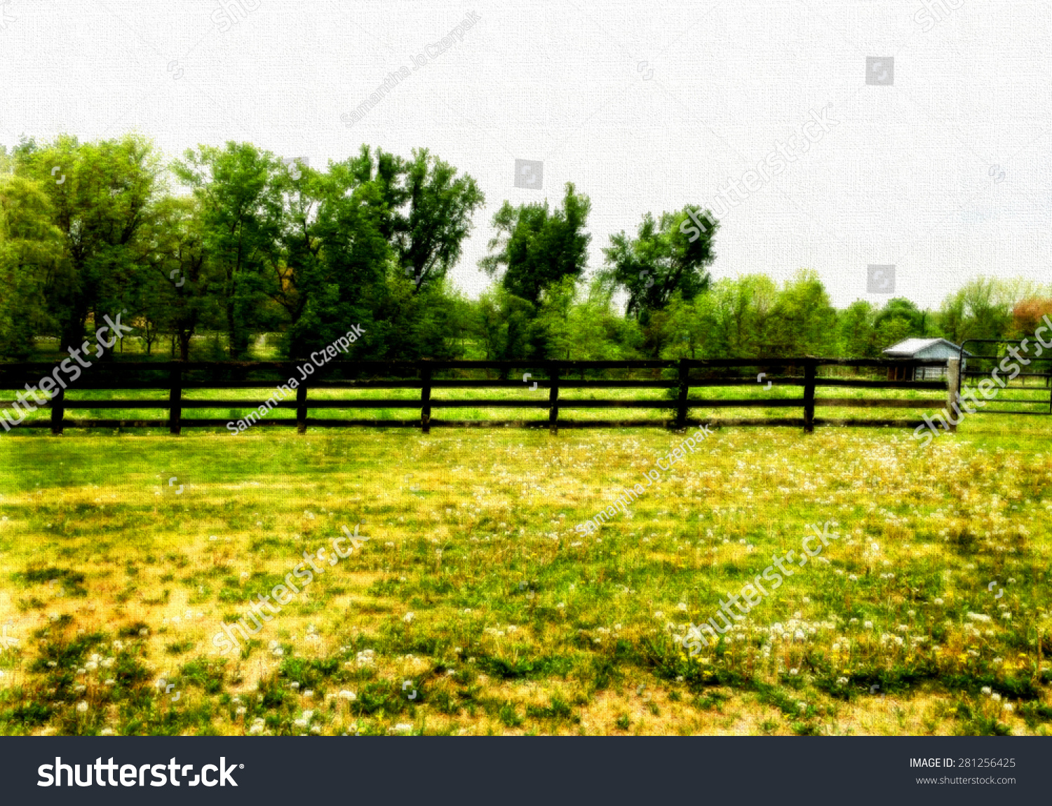 Fence On Horse Farm Scene Textured Stock Illustration 281256425