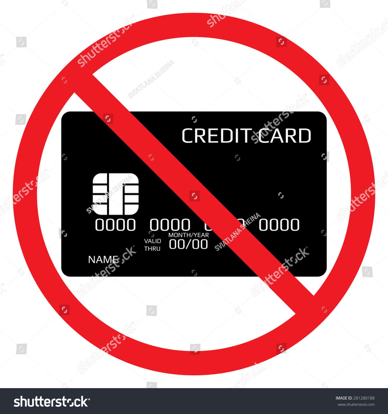 No Credit Card Cash Red Prohibition Stock Vector 281280188