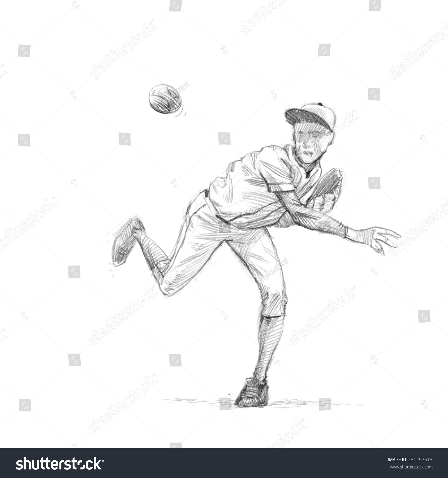 Uncategorized How To Draw A Baseball Pitcher sports series sketchy pencil drawing baseball stock illustration of a player pitcher high resolution scan