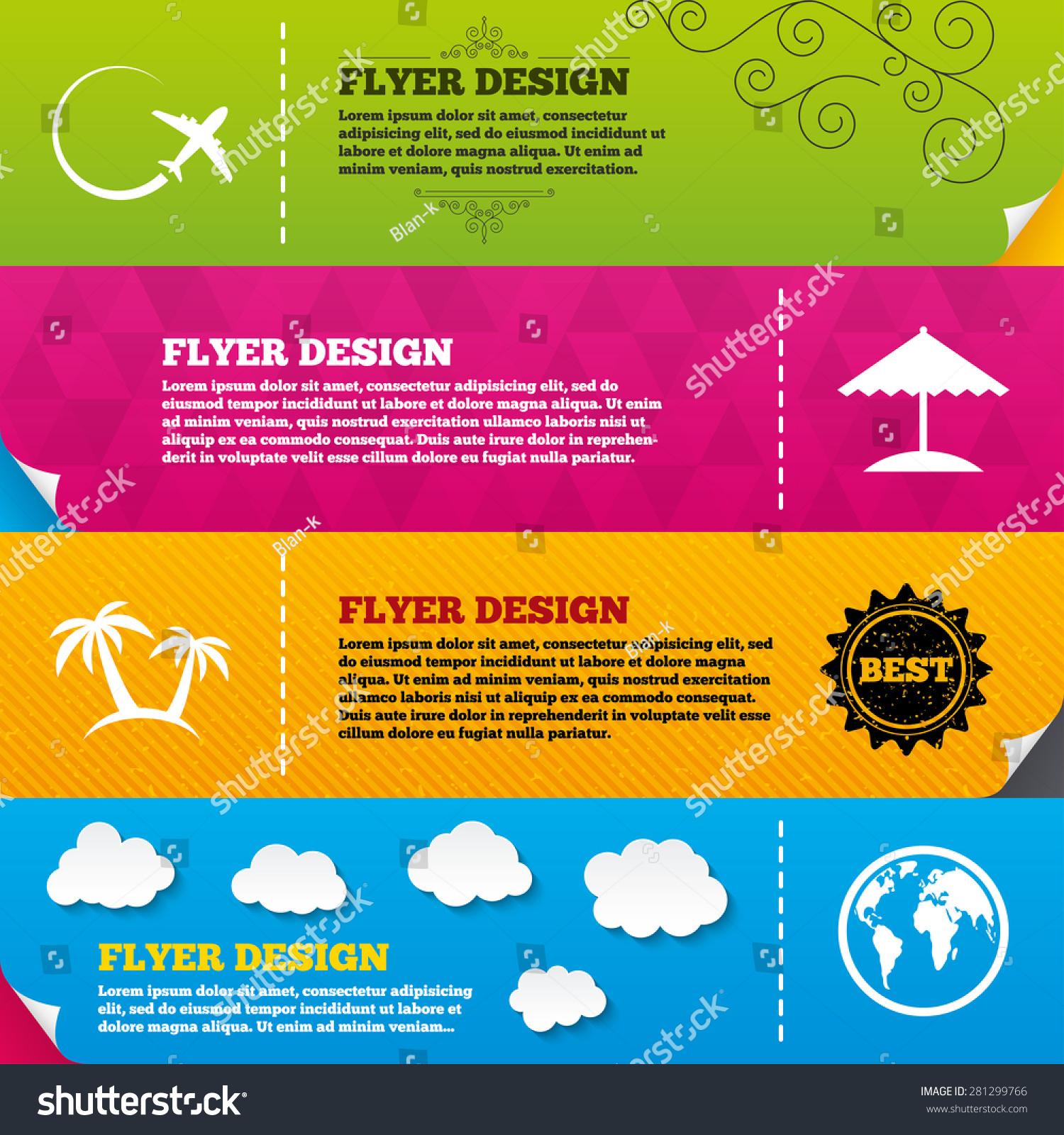 Flyer Brochure Designs Travel Trip Icon Airplane World Globe Symbols Palm Tree