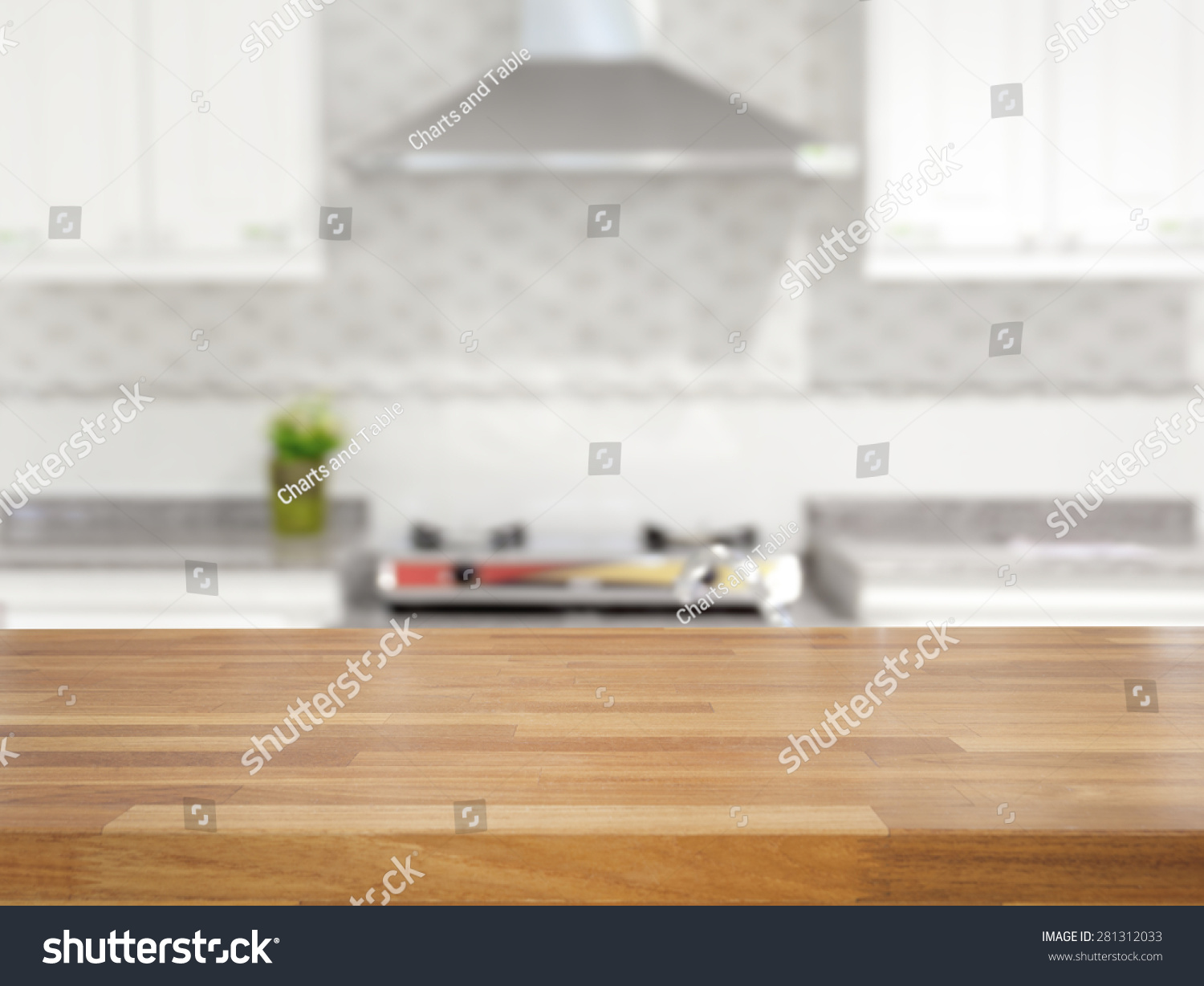Empty wood table and blurred living room background stock photo - Empty Wooden Table And Blurred Kitchen Background Product Display