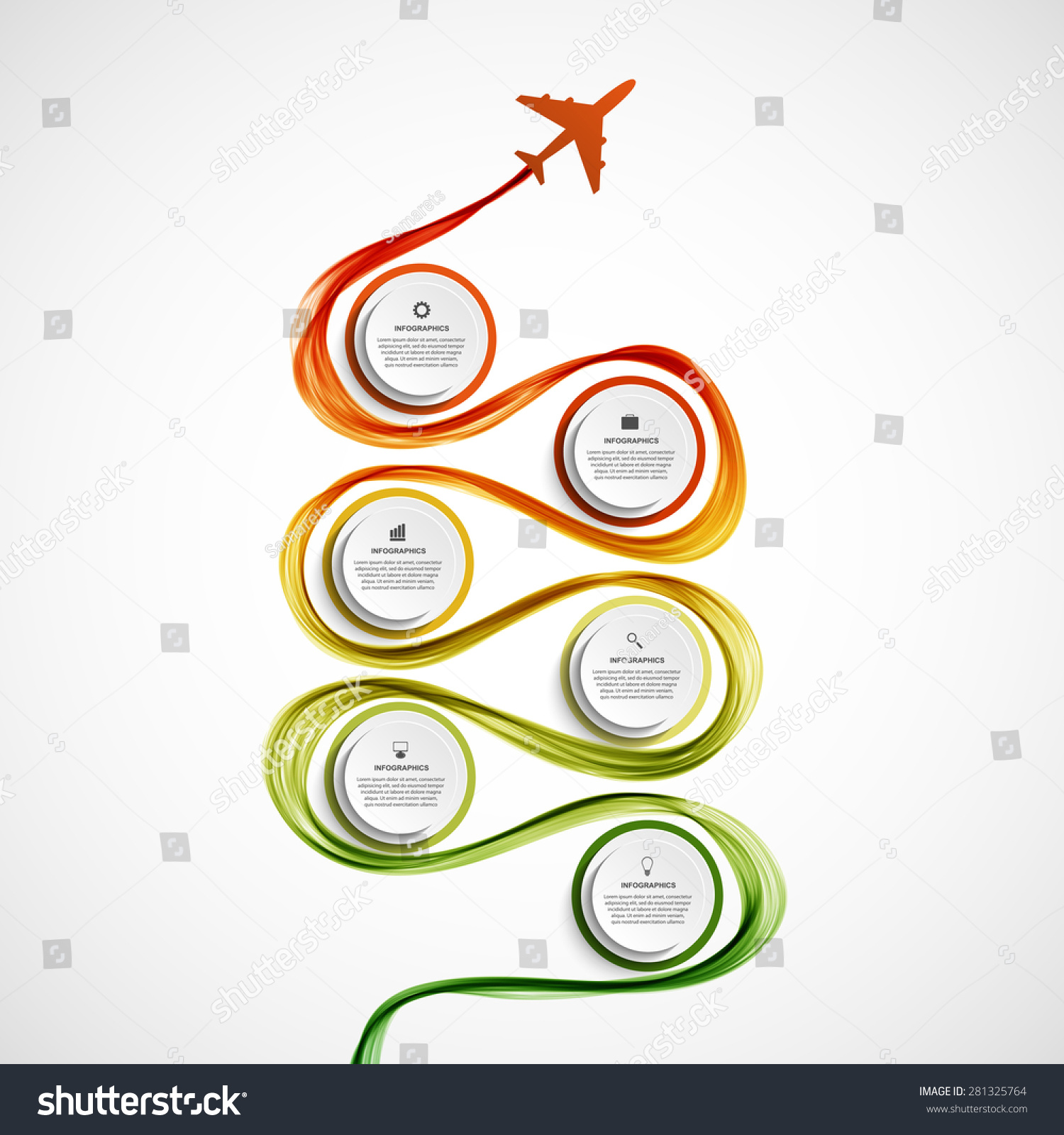 Abstract Infographic Airplane And Wave A Colored Smoke ...