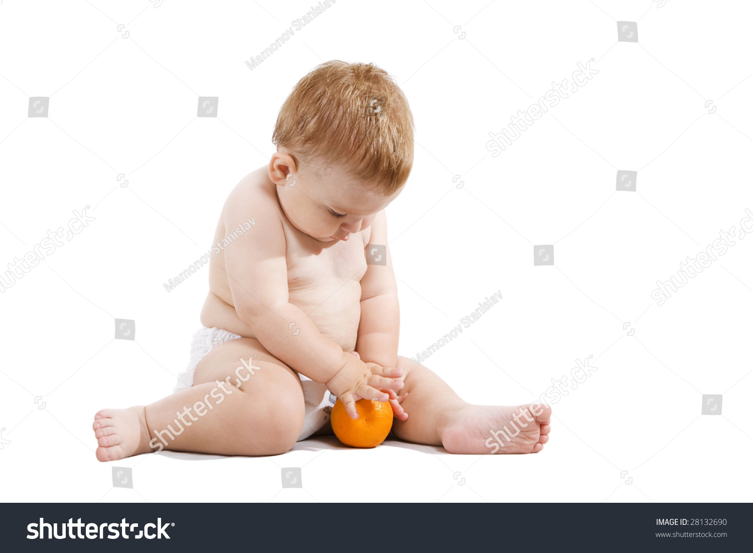 Small Ginger Baby Seating Nappy Try Stock Photo 28132690 ...