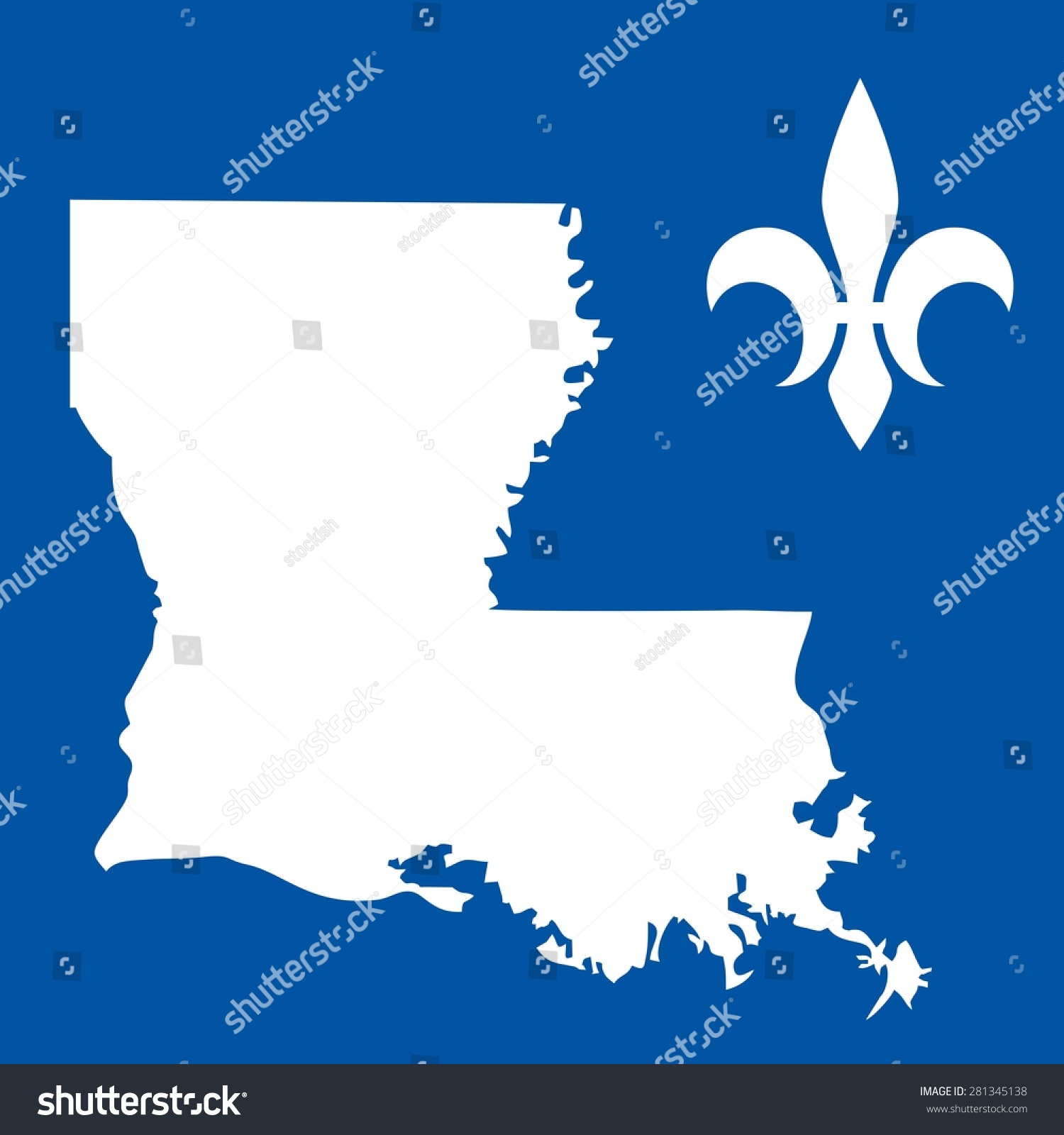 Louisiana Usa State Map Fleur De Stock Vector Shutterstock - Louisiana on usa map