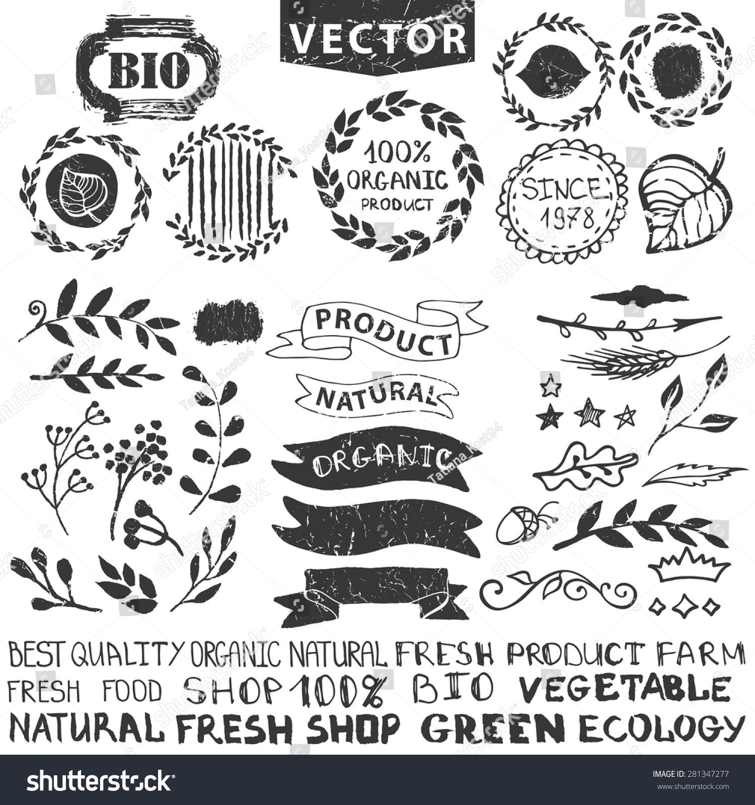 Badgeslabelsfloral Elementswreaths And LaurelsOrganicnatural Design Hand Drawing Vintage Silhouette Vectorink SketchLogotype Makerlettering