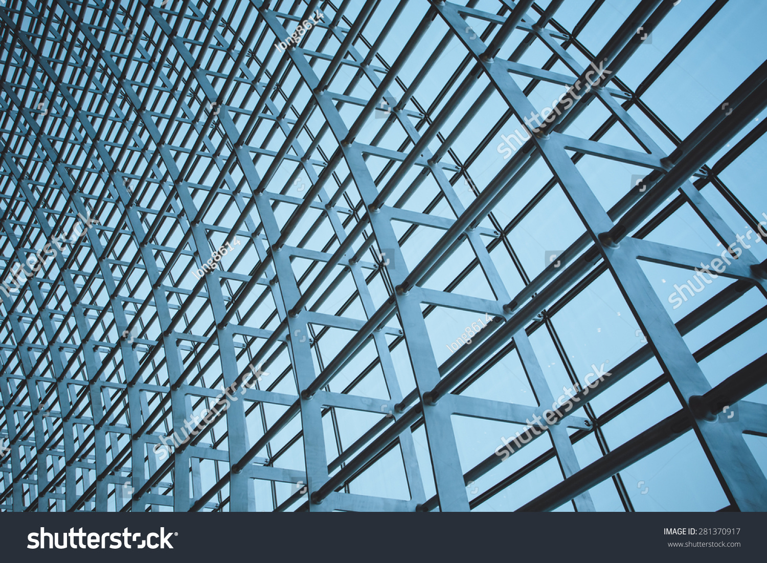 The steel structure of the glass wall in Beijing #281370917 - 123PhotoFree.com