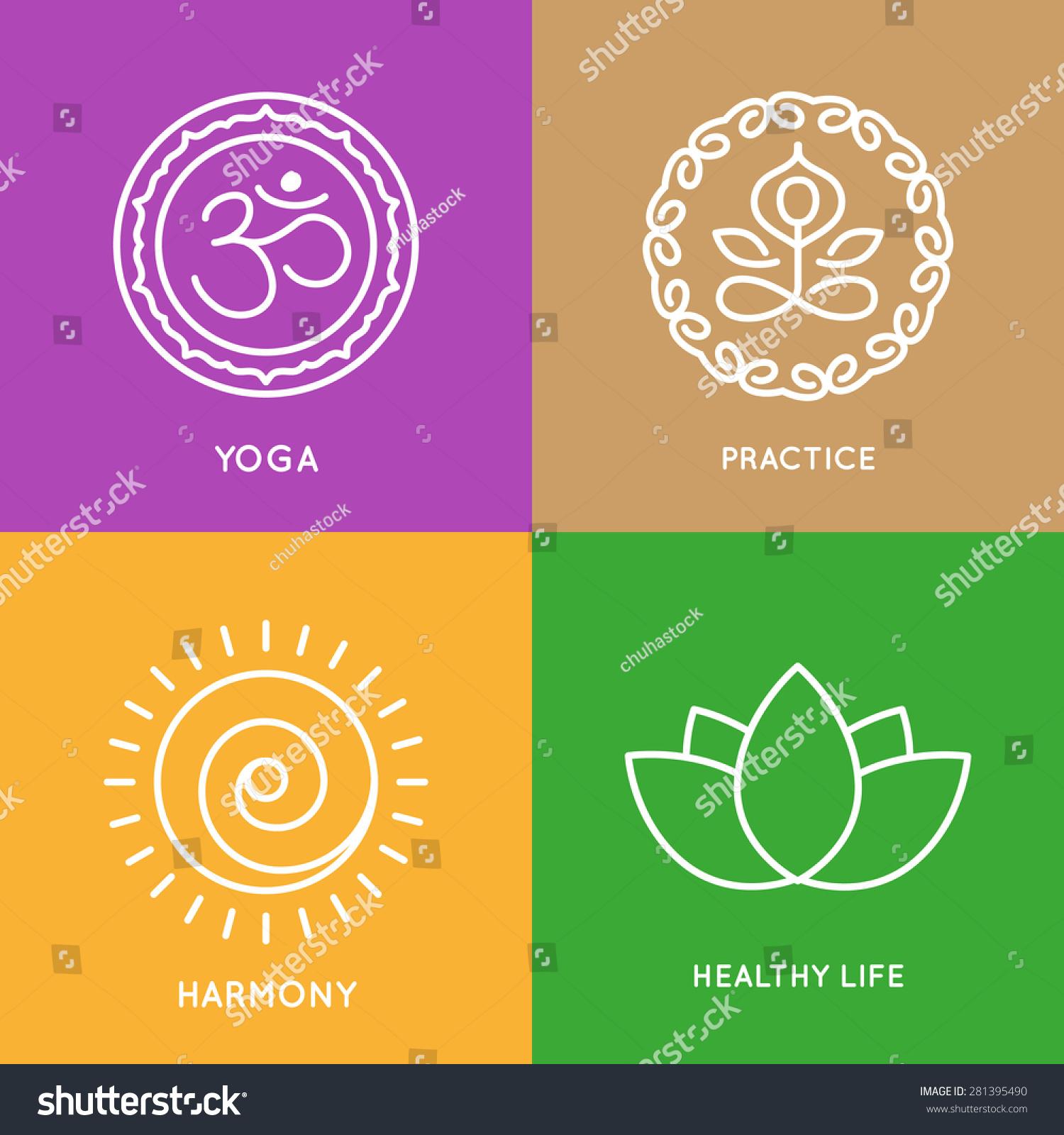 Graphic Design Elements Line : Yoga line symbols colorful squares vector stock