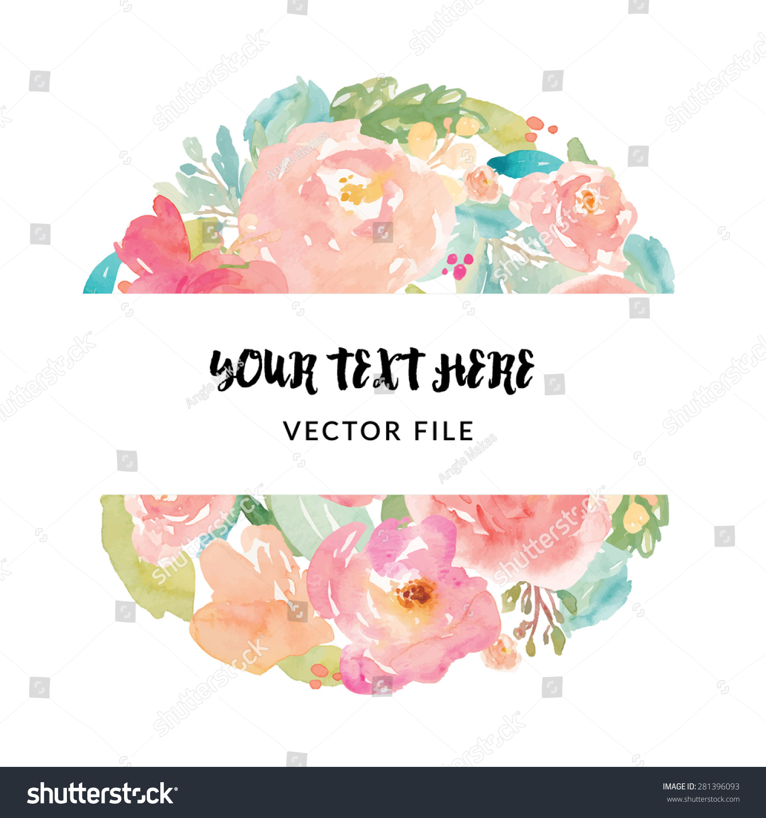 Vector Watercolor Flower Frame Stock Photo (Photo, Vector ...
