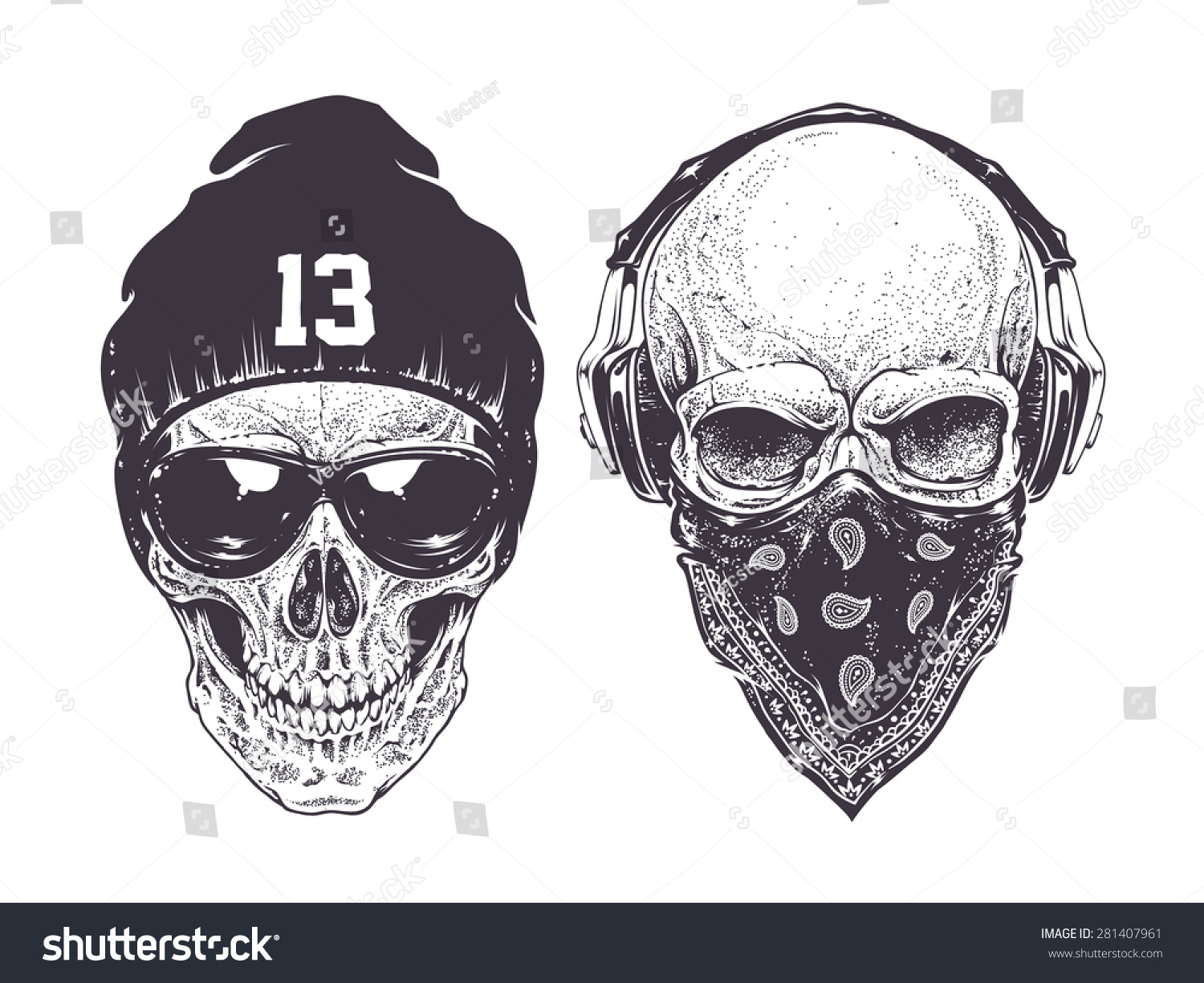 Two dotwork skulls with modern street style attributes for Modern drawing styles