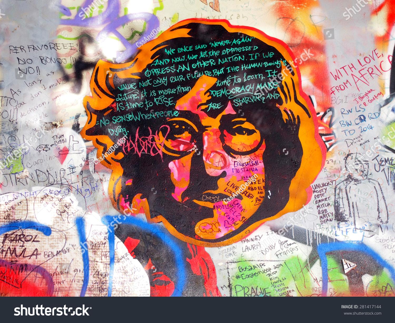 Prague czechia september 25 john lennon wall on september 25 2014 in prague since the 80s the wall has been filled with john lennon graffiti and john
