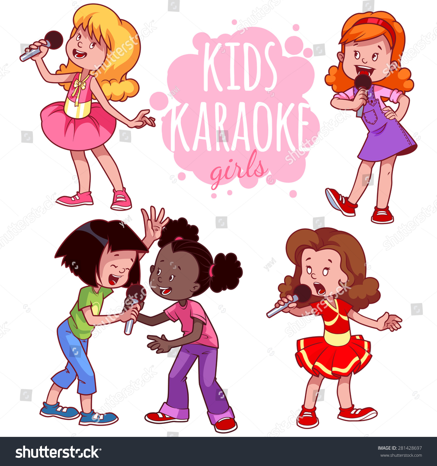 cartoon children sing with a microphone vector clip art