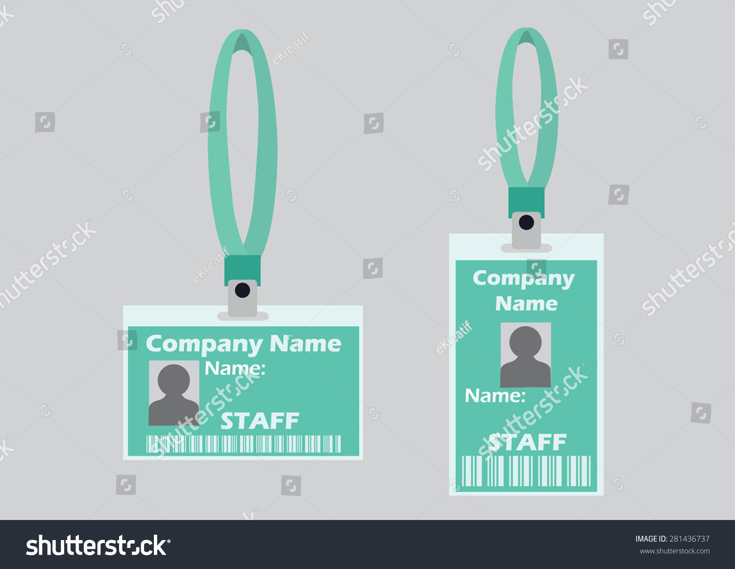 name tag holder badge identification card templates with lanyard vector illustration. Black Bedroom Furniture Sets. Home Design Ideas