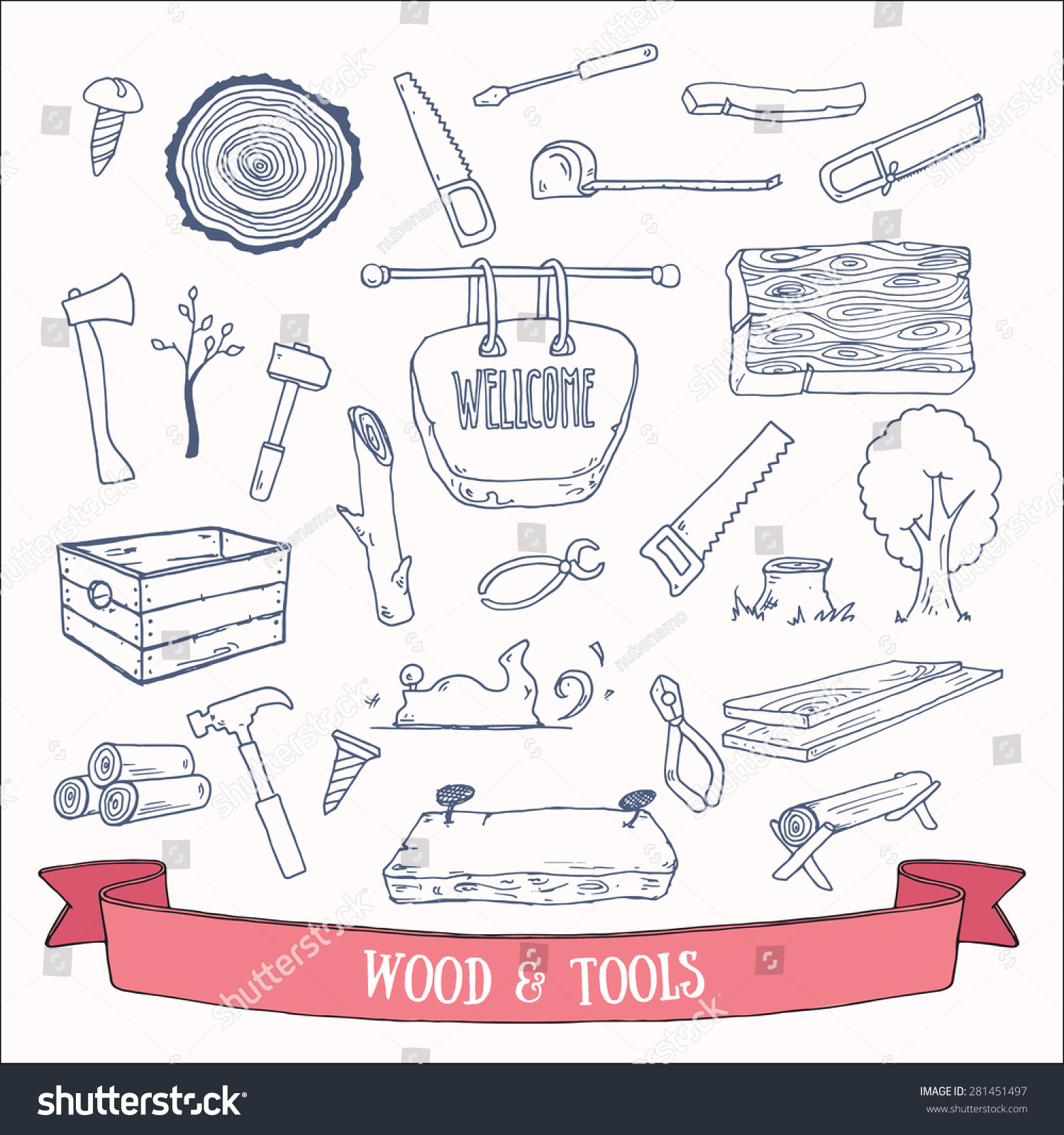 Woodworking Lumberjack Tools Vector Doodles Hand Stock Vector