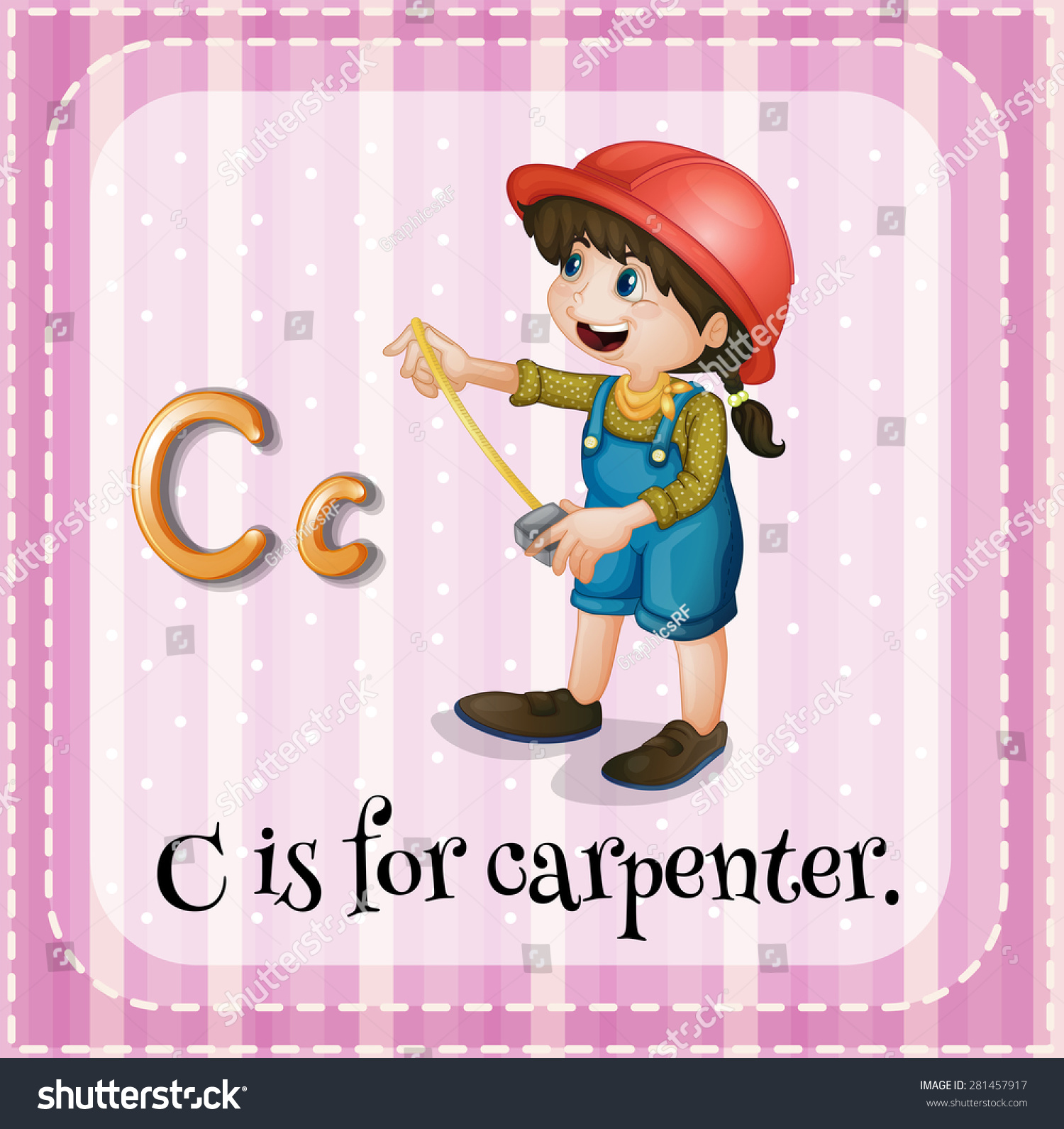 Flashcard Letter C Is For Carpenter Stock Vector