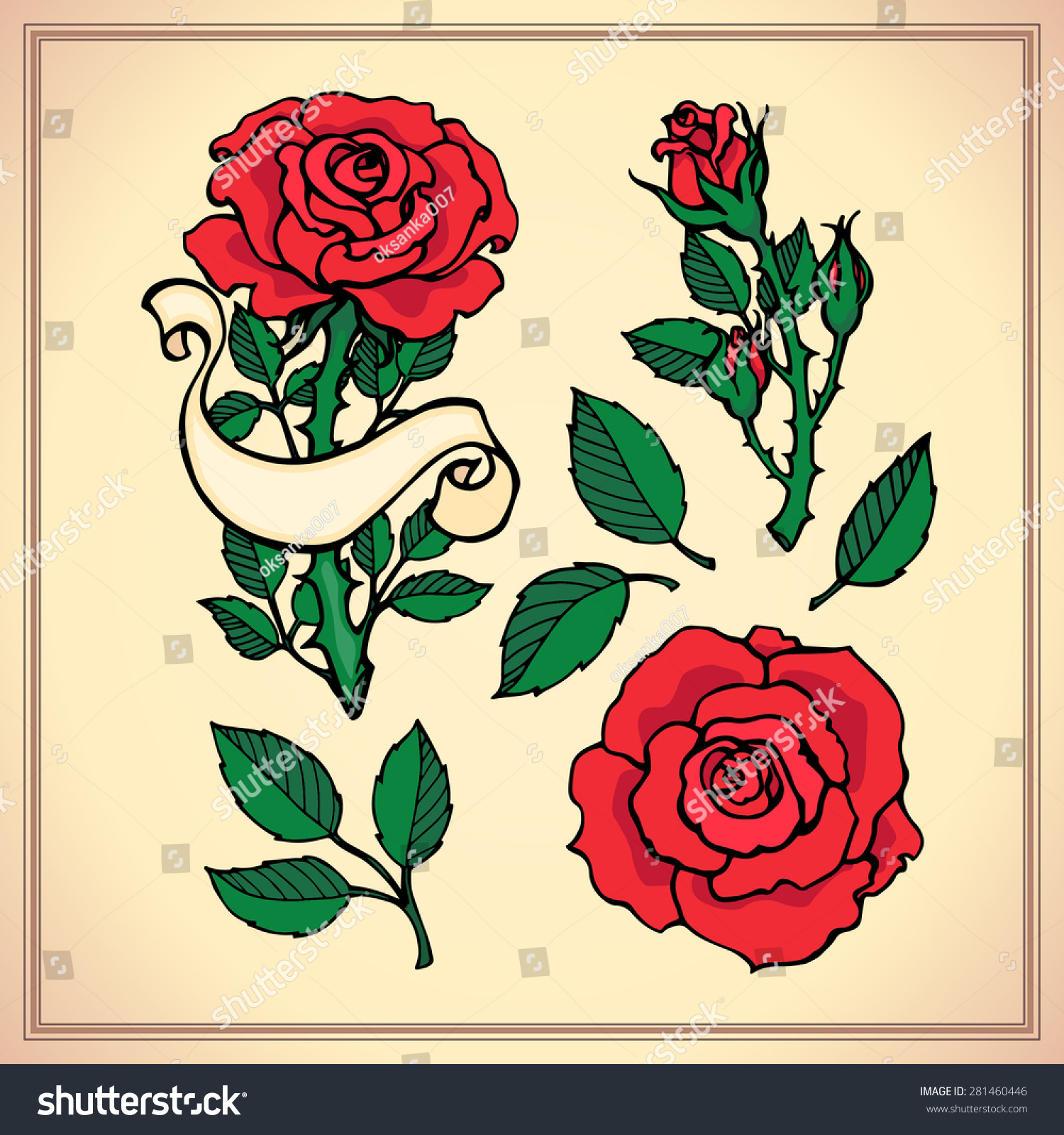 Tattoo Set Graphic Vector Illustration Roses Stock Vector (Royalty ...