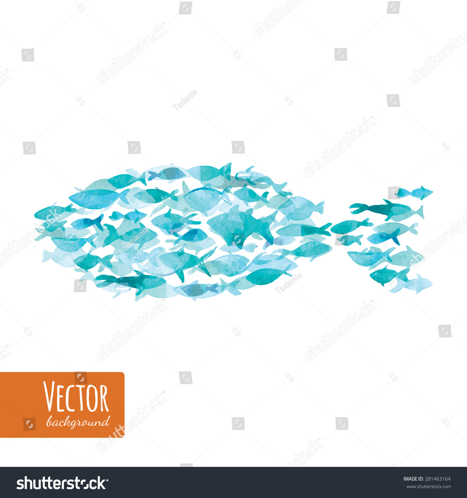 Many sea blue ocean fishes together stock vector 281463164 many sea blue ocean fishes together as symbol of teamwork vector watercolor fish on light biocorpaavc Choice Image