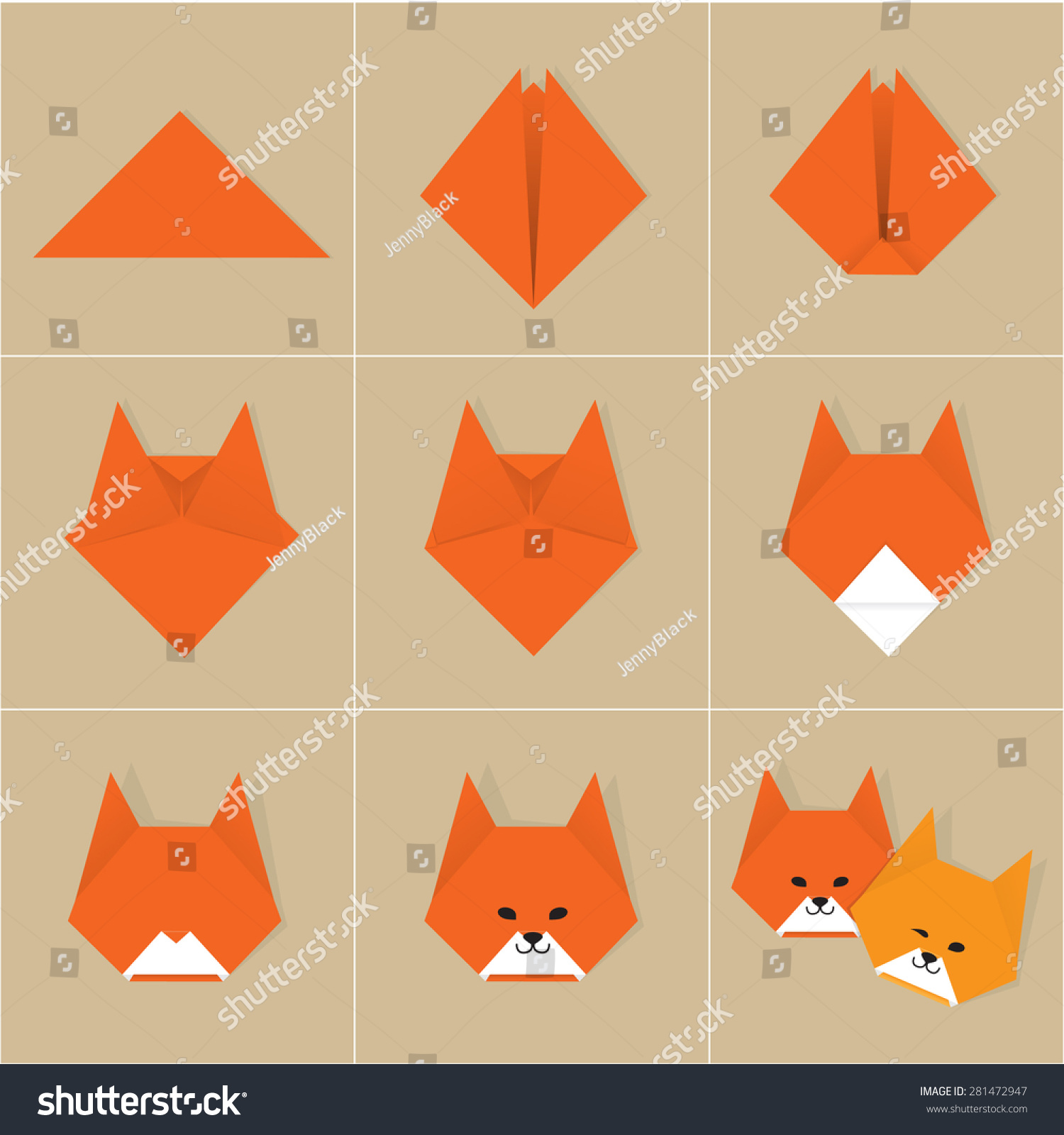 Step by step instructions how make stock vector 281472947 step by step instructions how to make origami fox jeuxipadfo Images