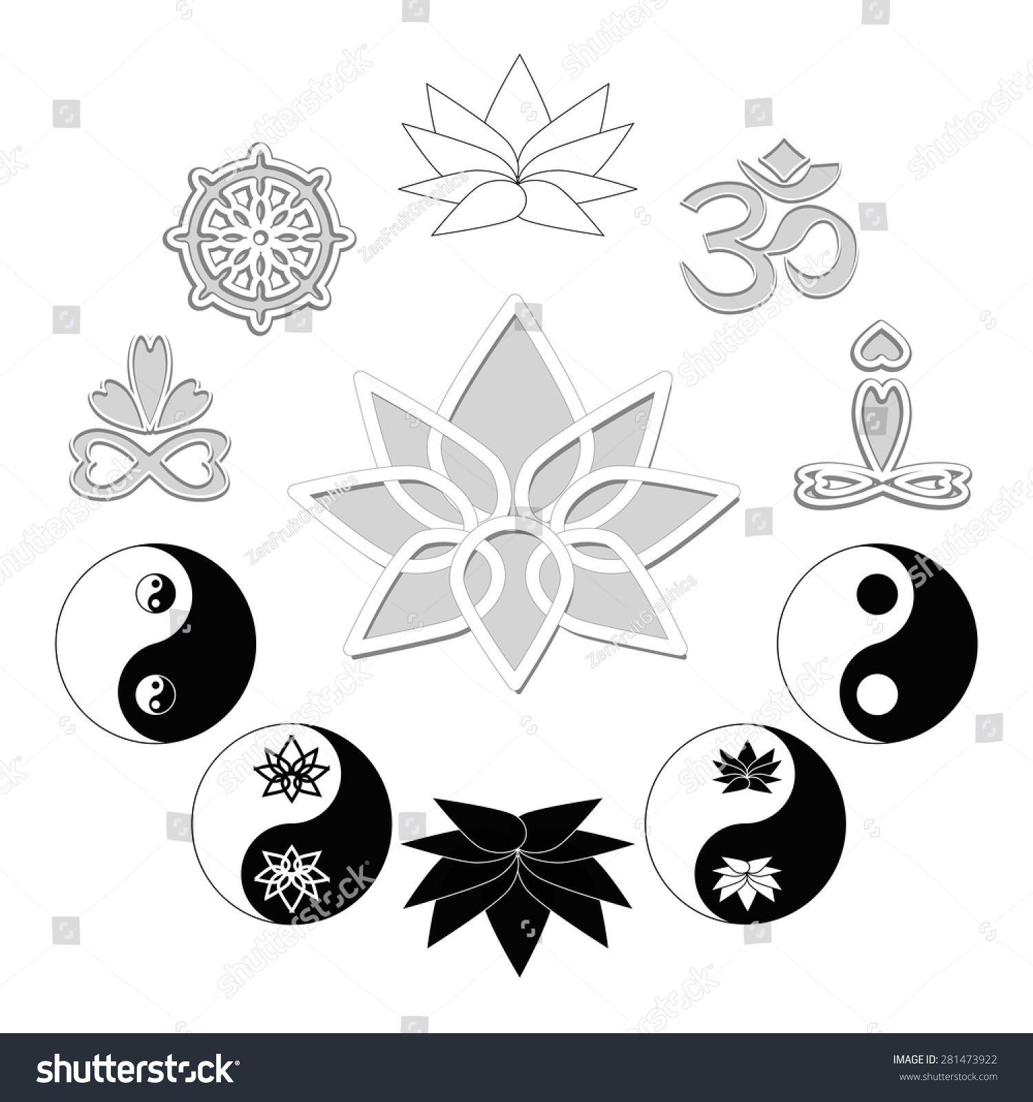 Yoga Symbols Zen Buddhism Icons Set Stock Vector Royalty Free