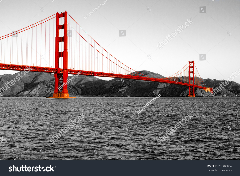 Golden Gate Bridge Black White Background Stock Photo