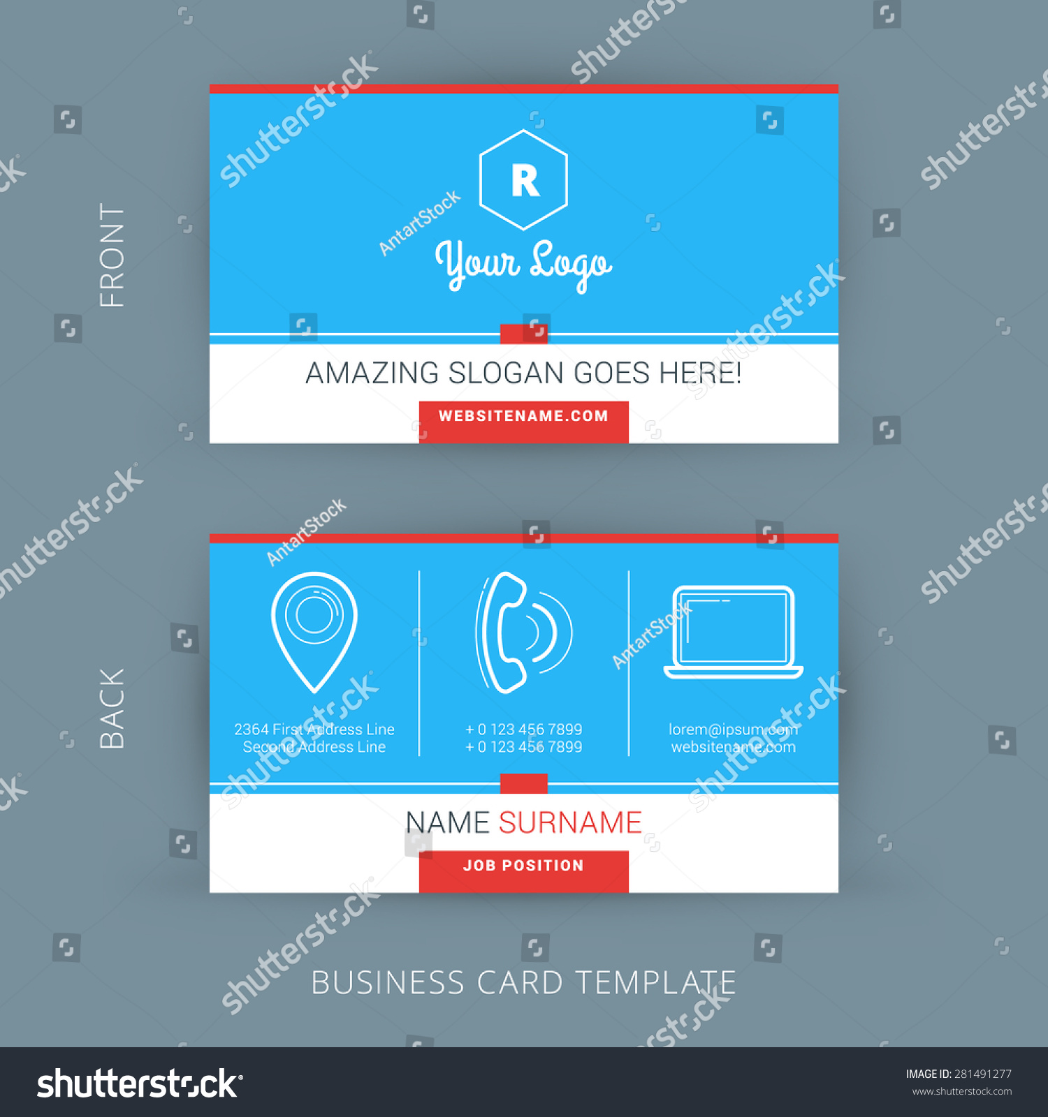 Vector modern creative clean business card stock vector 281491277 vector modern creative and clean business card template flat design fbccfo Image collections